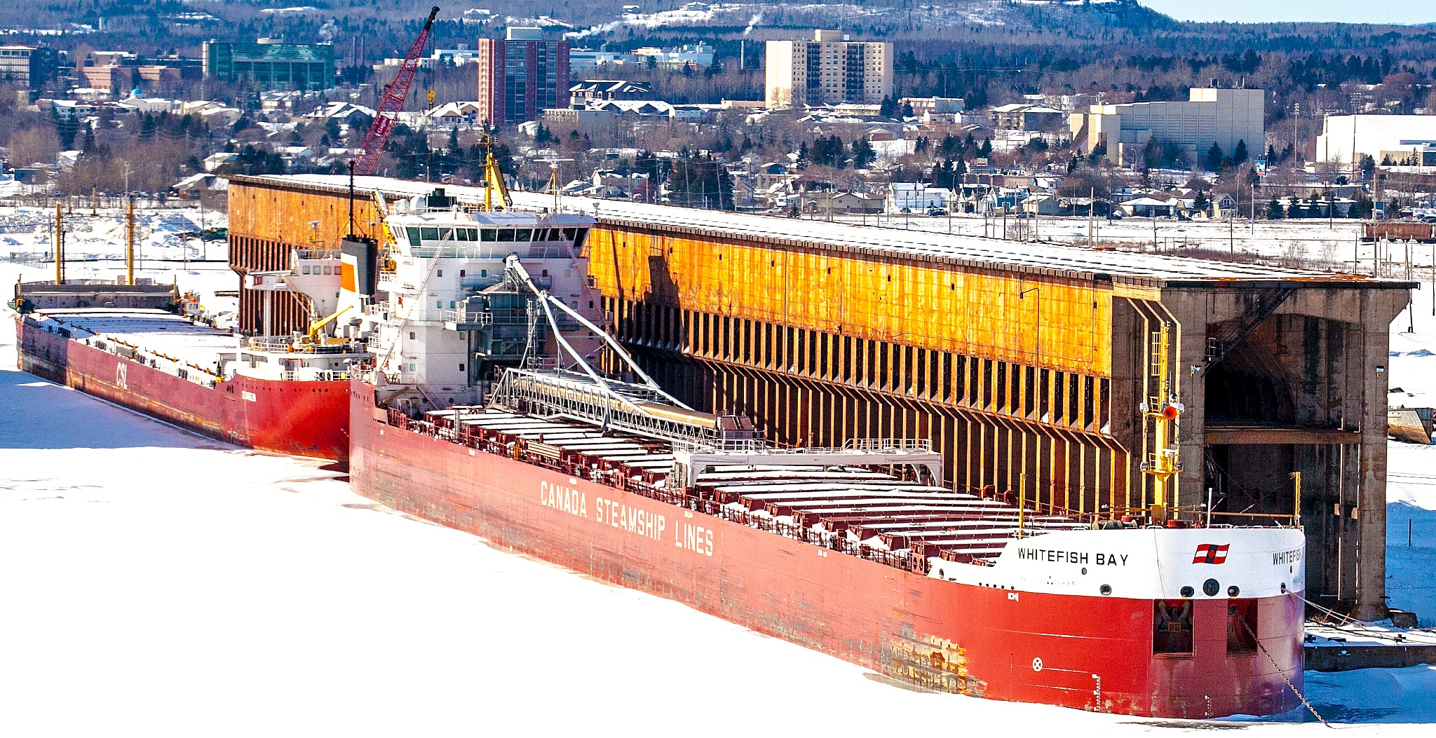 Famous Shot in Northwestern Ontario - The WHITEFISH BAY parked for the Winter at the Ore Docks by Kevin Palmer RPM