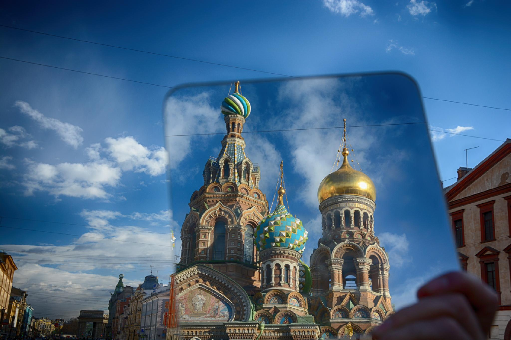 Reflection of The Church of the Savior on Spilled Blood from hand mirror by Abdurrahman Aksoy