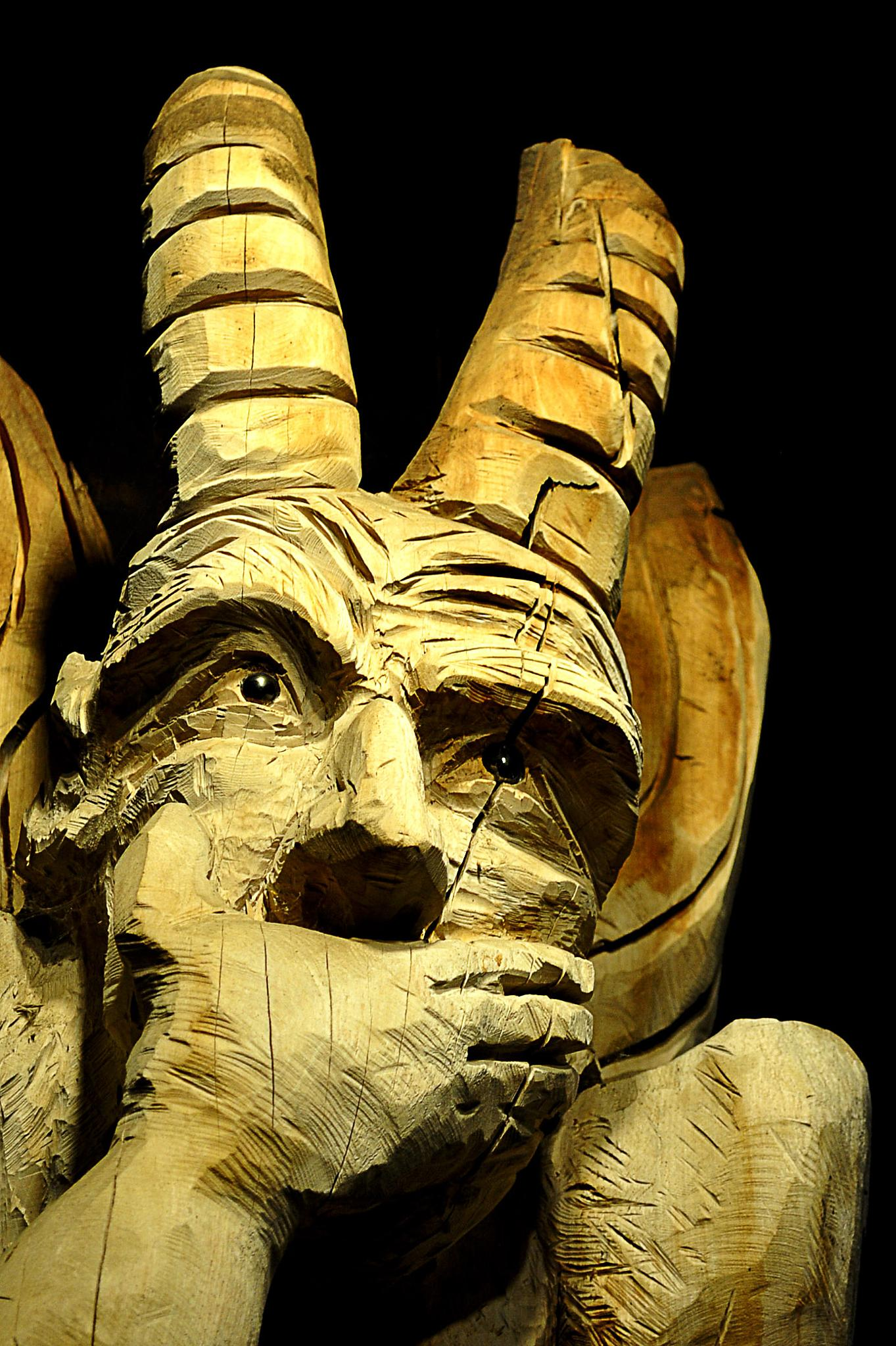 Photo in Abstract #wooden #statue #devil
