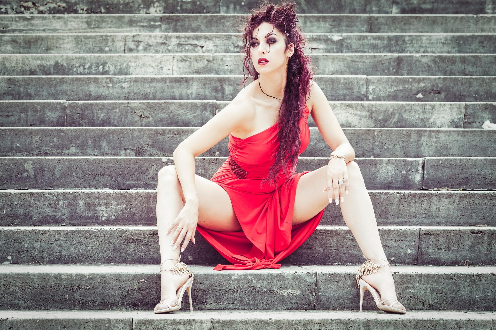 sitting on stairs by EllePiStudio