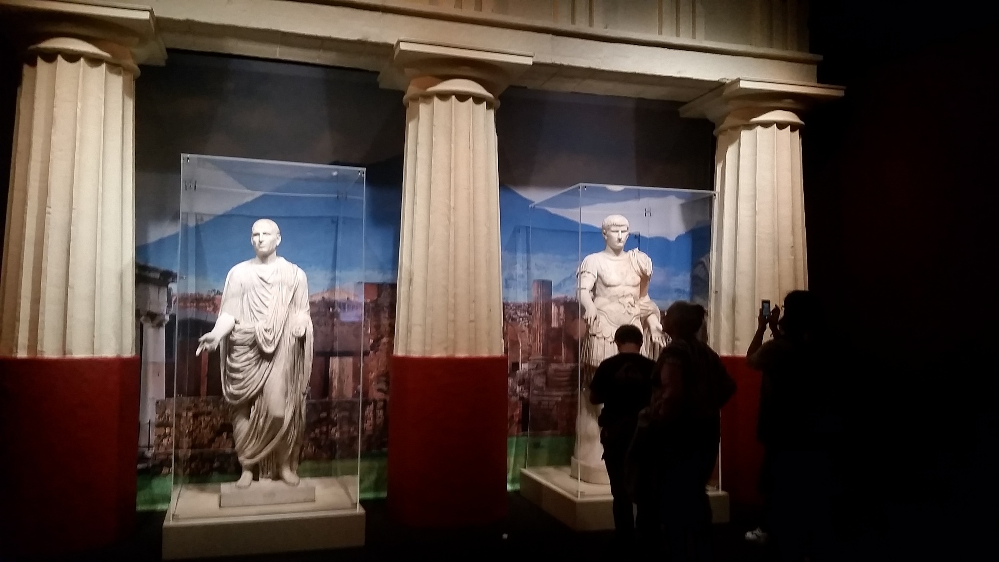 Two hand carved marble statues from 79 ad Pompeii exhibit in Portland Oregon by B56