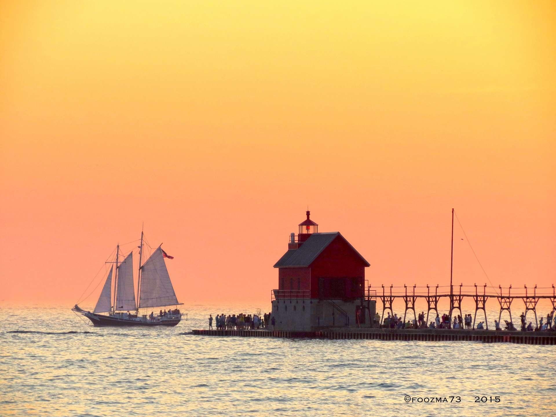 Beautiful Summer Evening - Grand Haven by Jennifer A. Wheaton