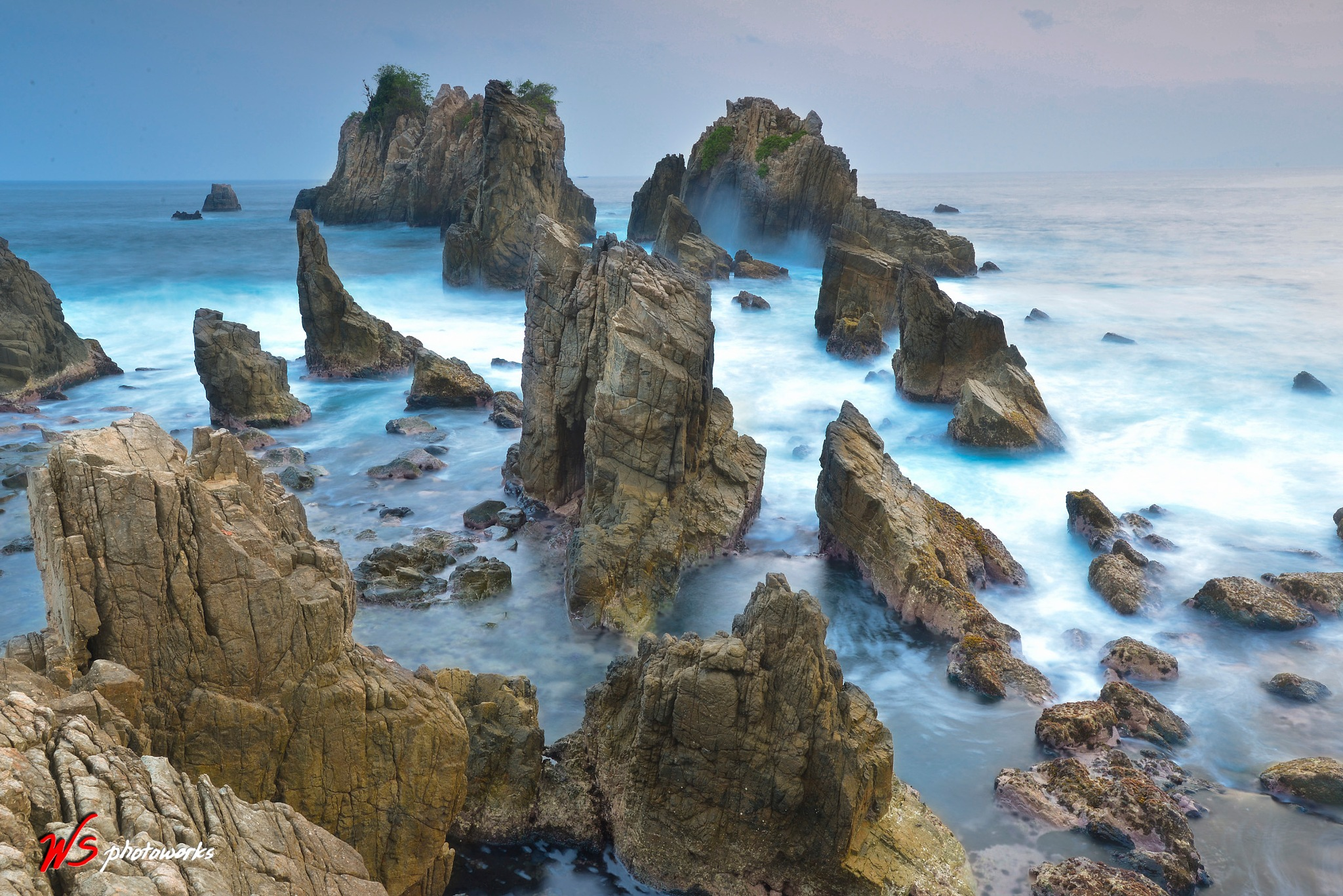 Waves at the rocky beach of Pegadung, Lampung by wahyusur
