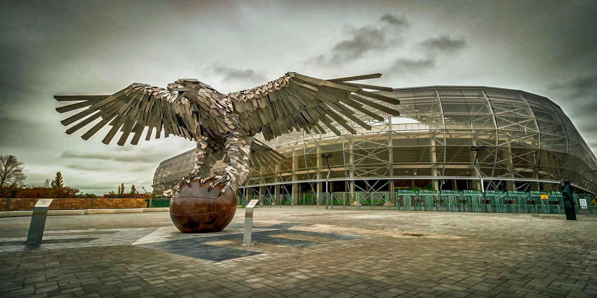 Budapest, Groupama Arena and the Eagle sculpture by metaltibor