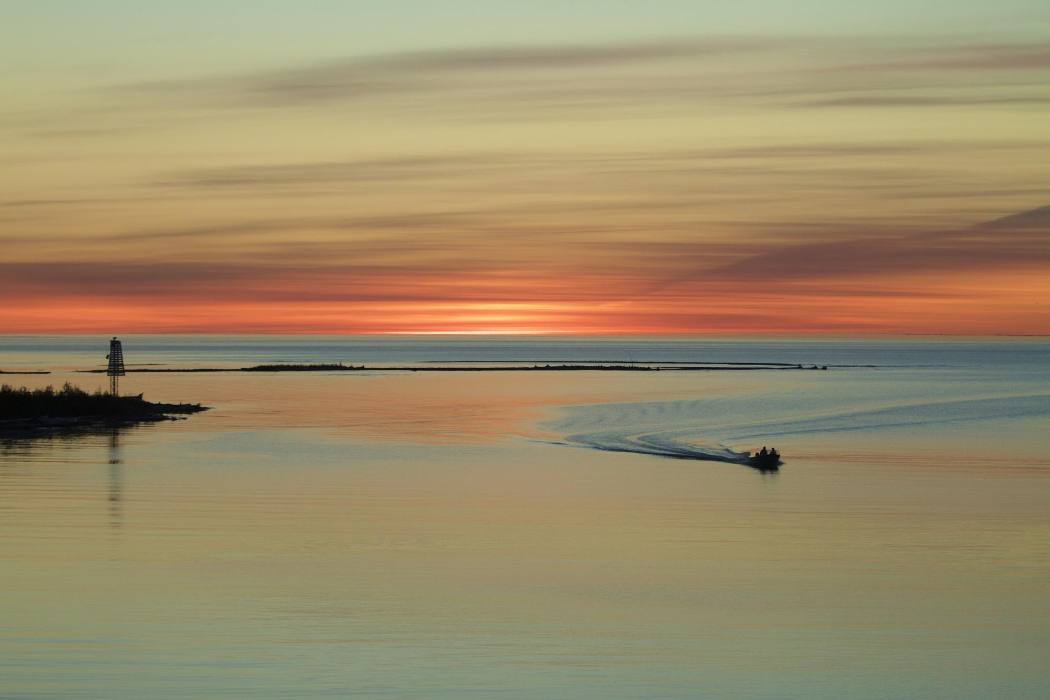 Boating under the Northern evening sky by Marilyn Marshall