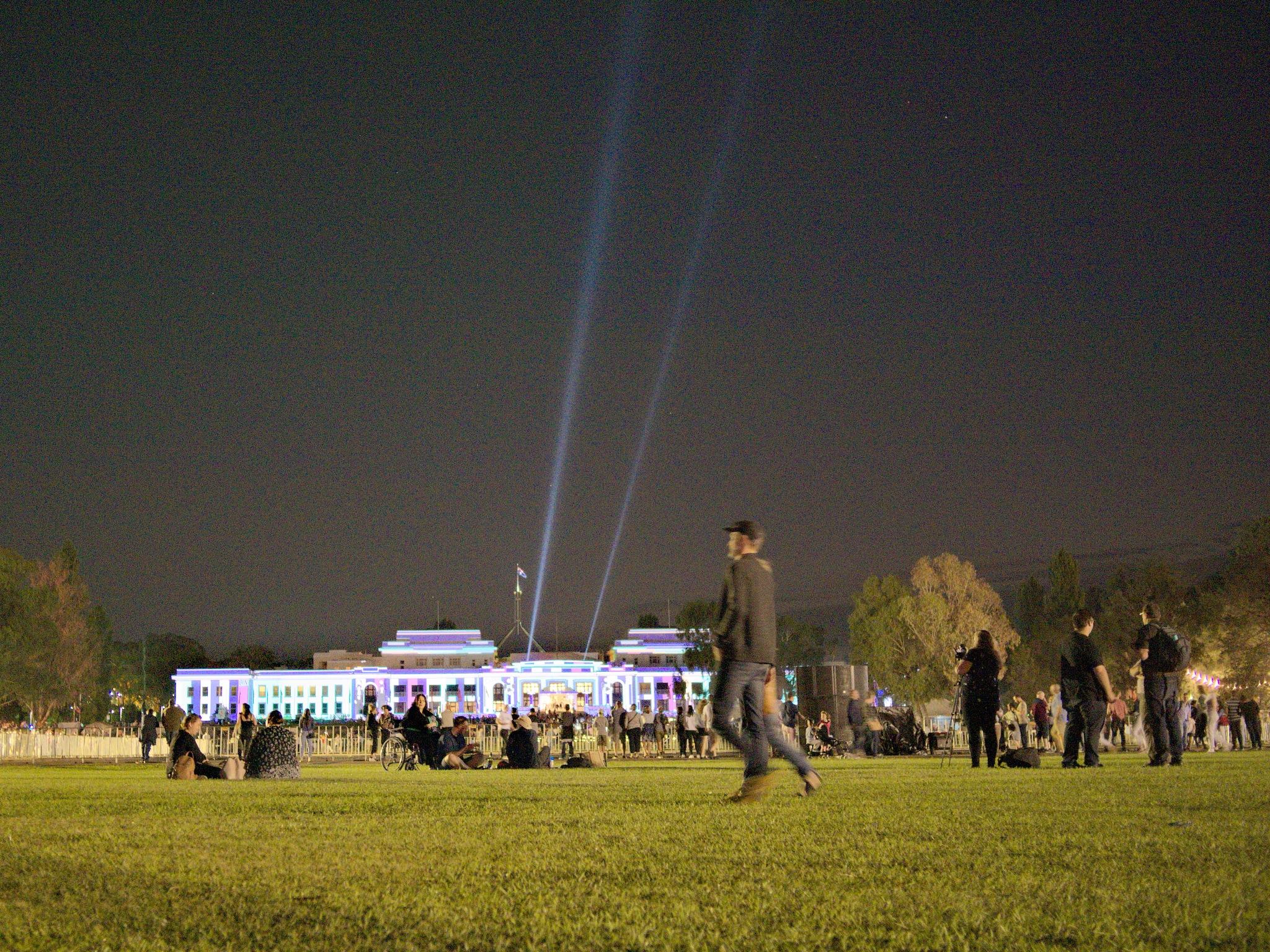 Old Parliament House plus Light Festival plus crowd by TonyG