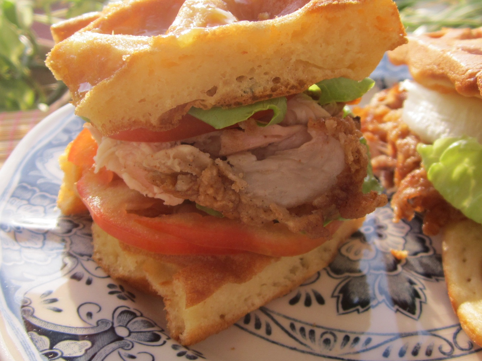 Waffle Sandwich with fried chicken and lemon sauce by amie