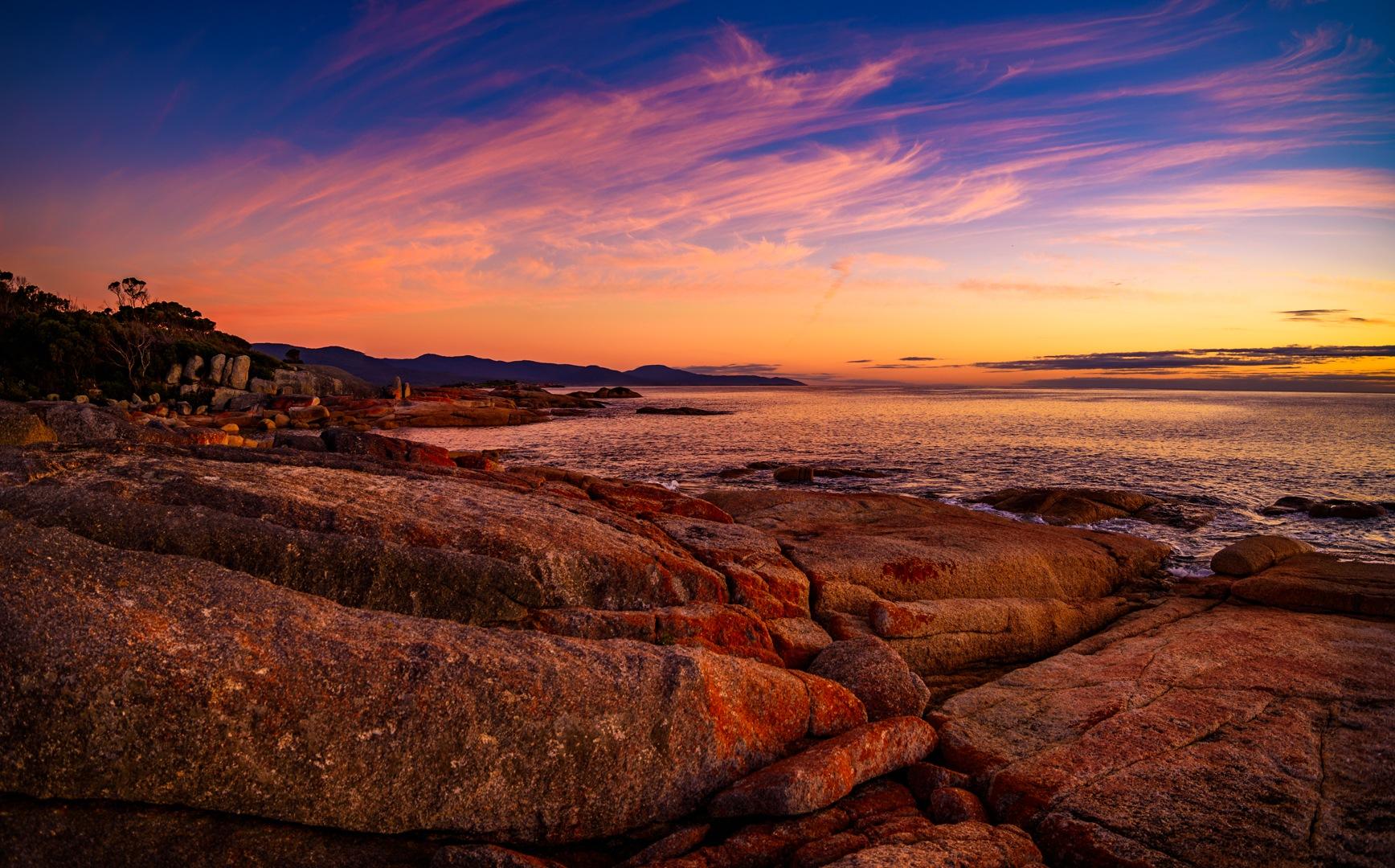Photo in Nature #twilights #sunset #sky #clouds #lights #sea #coast #tasmania #rocks