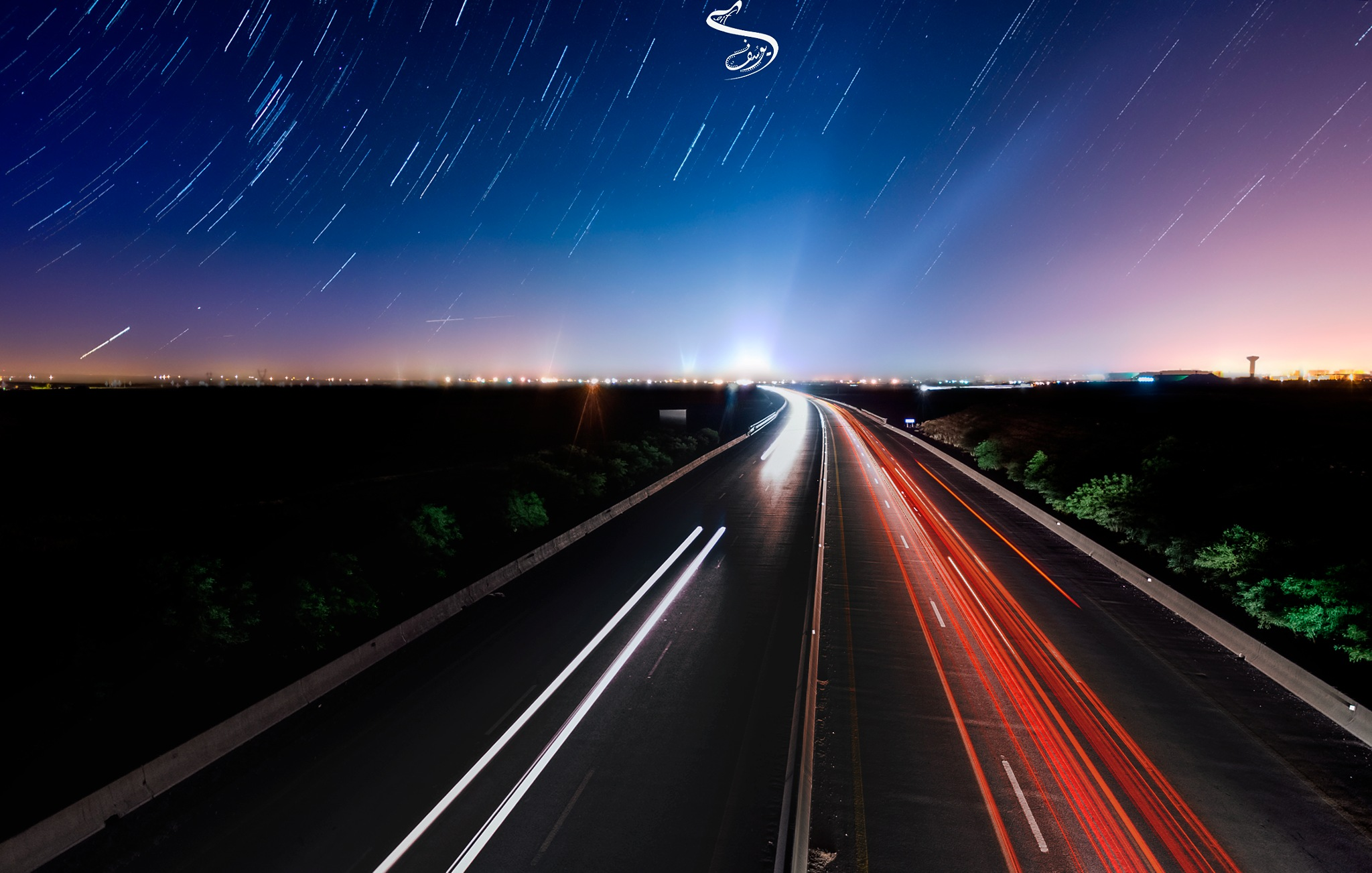 star trail in highway  by Dif Youssouf