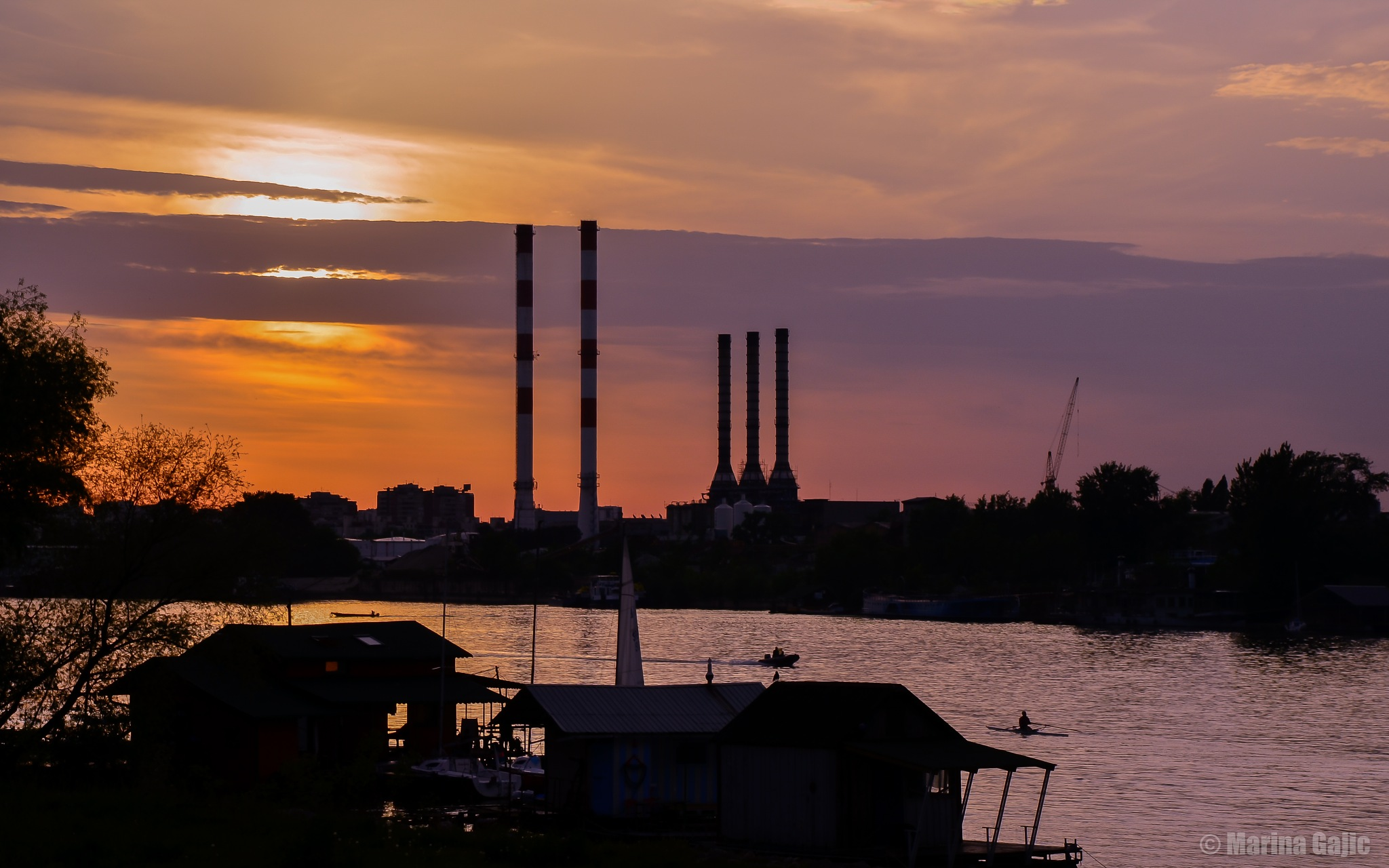 Sunset on river Sava by Marina Gajic