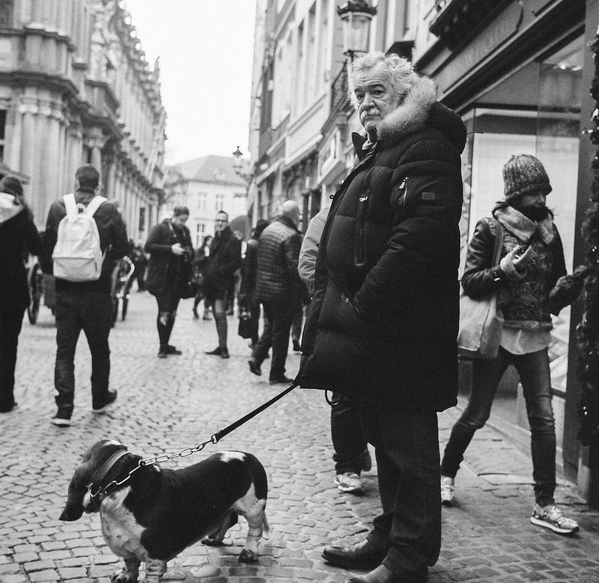 Man with dog ( 120 film )  by Phil Hearing