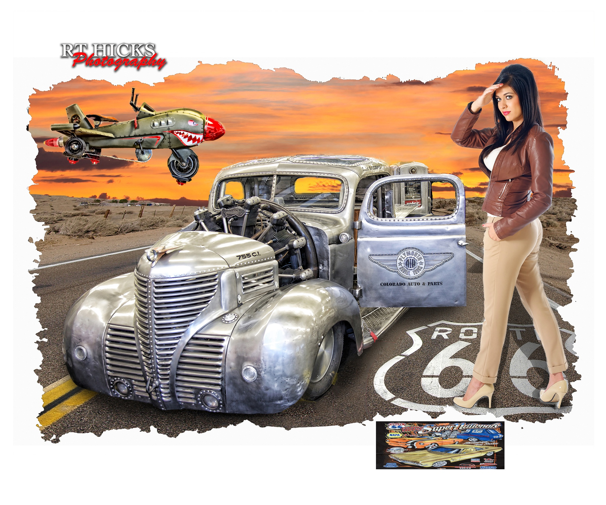 Bommer Jacket with Rat Rod 1941 Plymouth with a airplane engine by RT Hicks