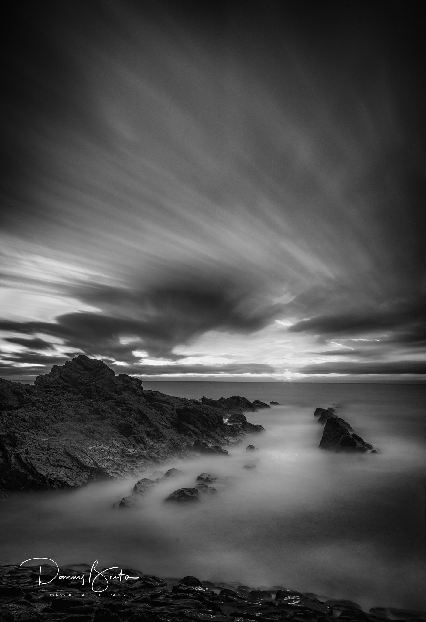 Bude Breakwater Black & White by Danny Berta