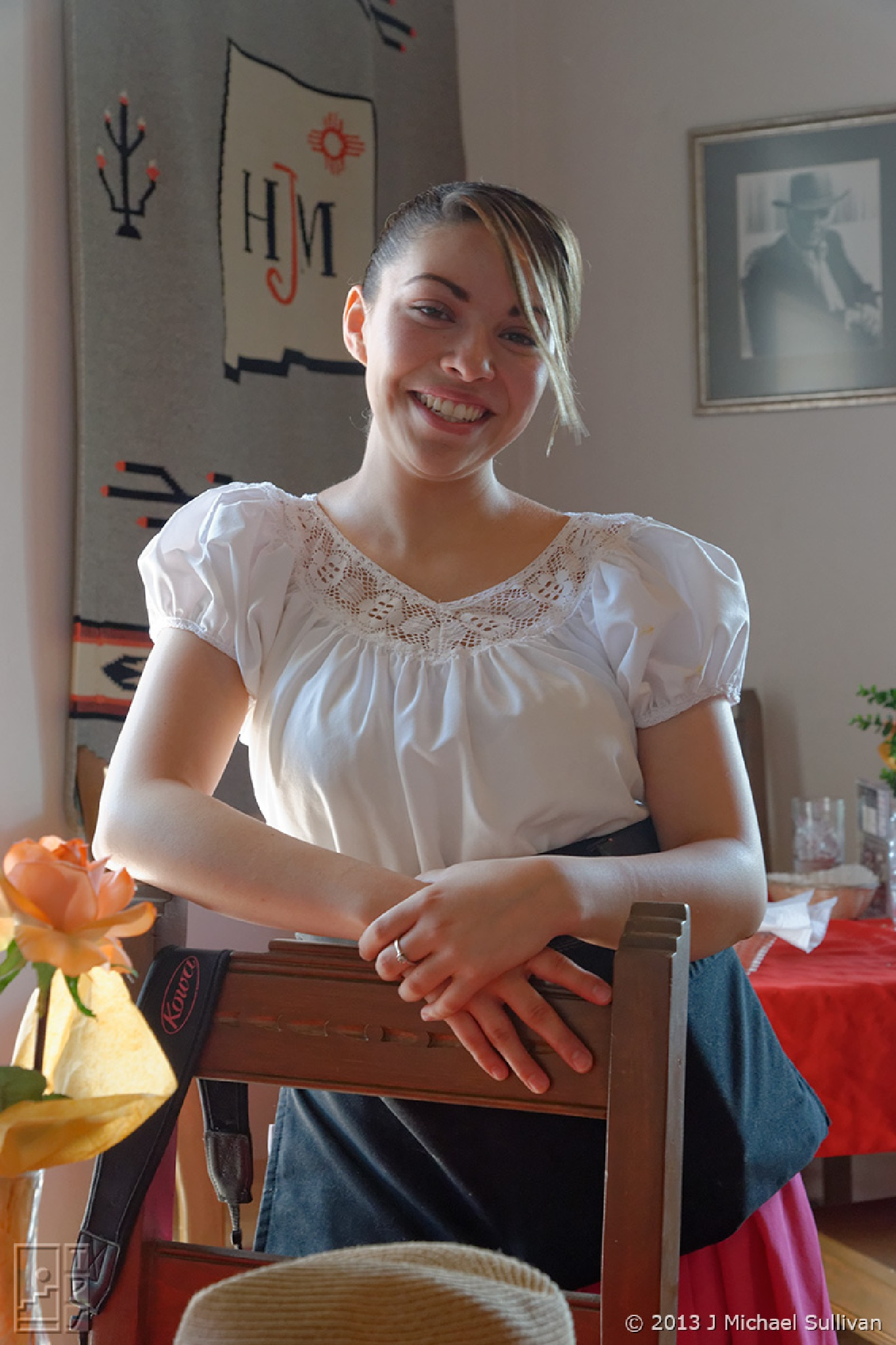 "Beatific waitress, Chimayo NM (18""x27"") by J Michael Sullivan"