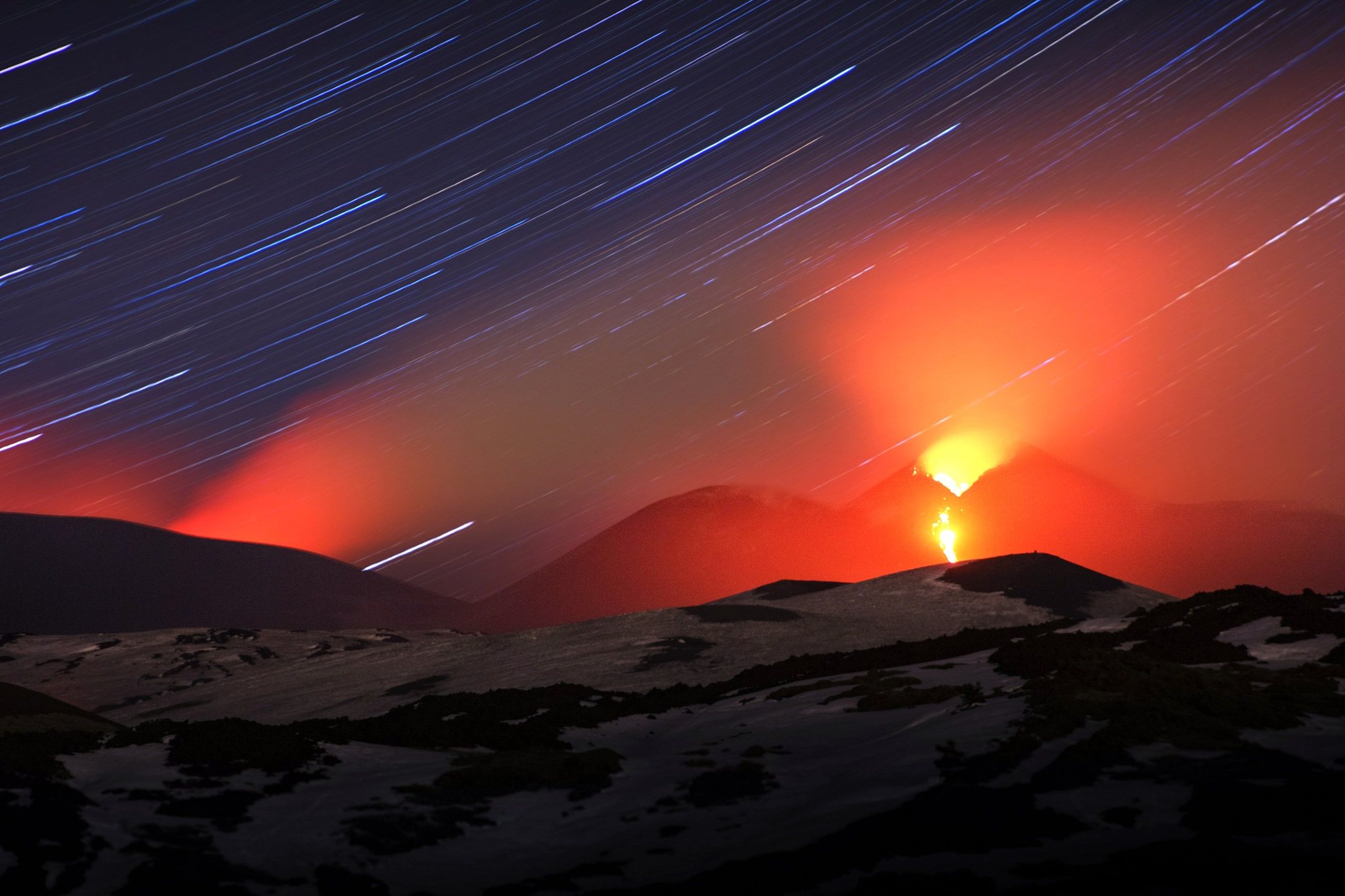 A Startrail Eruption of Mount Etna by Alessio Vaccaro