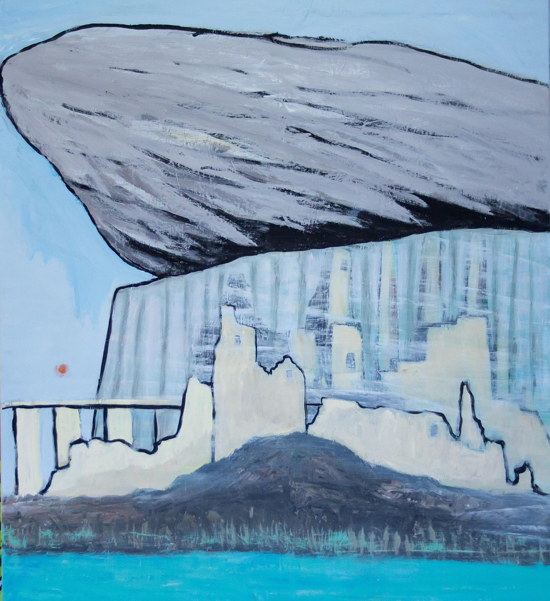 Whale above landscape by derkolaan