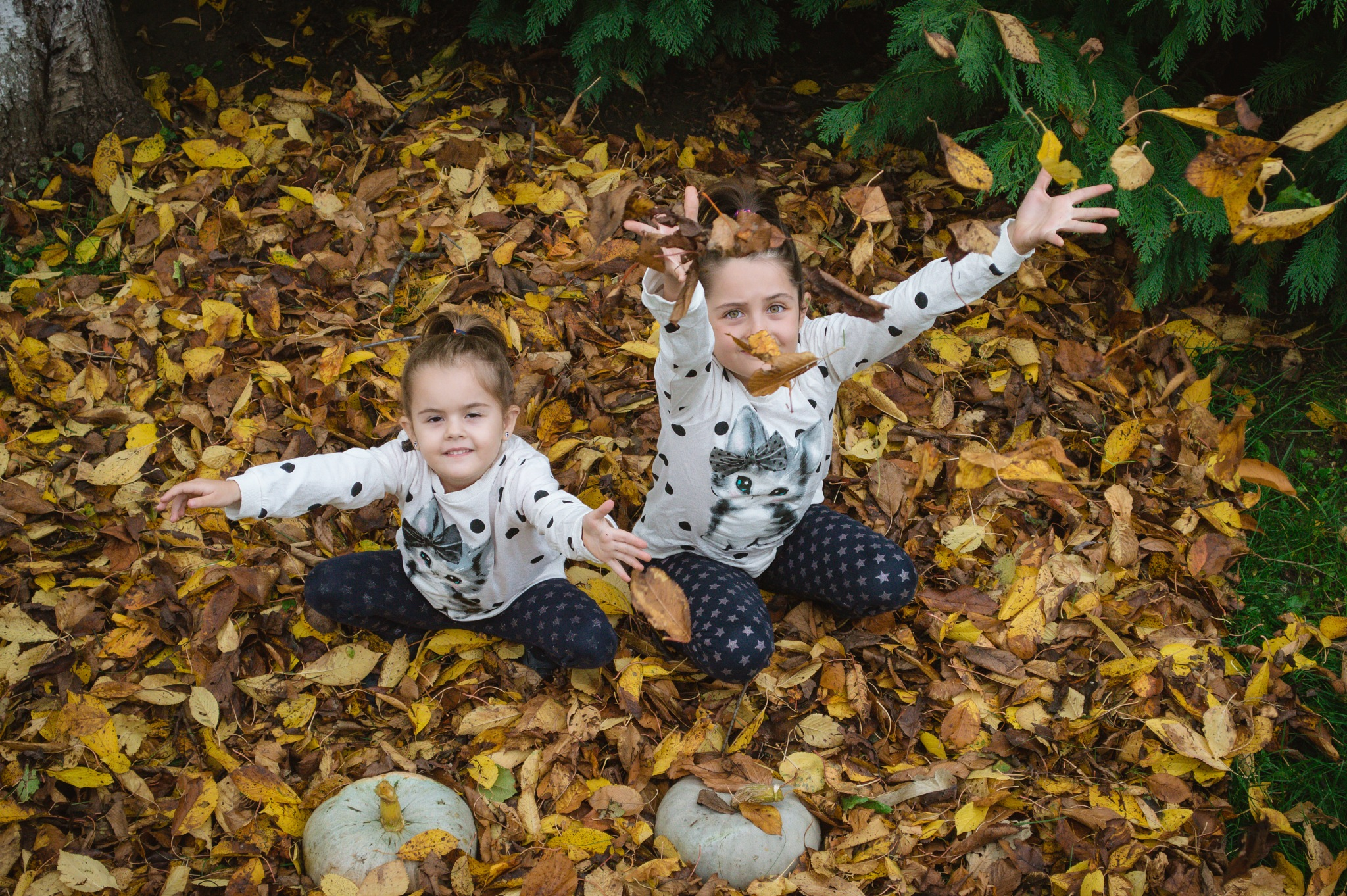 Playing with fallen leafs by Iulian Bud