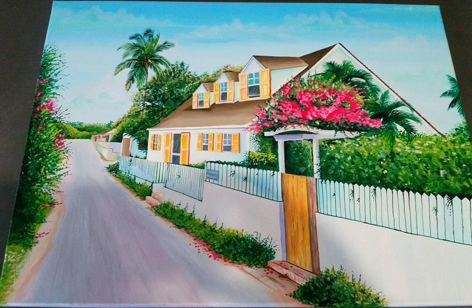 Acrylic Painting Of ALLAMANDA COTTAGE by jejualsart