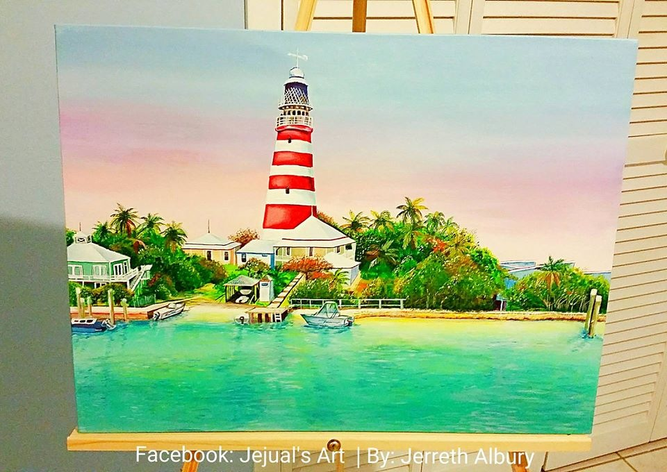 Acrylic Painting of ''HOPE TOWN LIGHTHOUSE'' by jejualsart