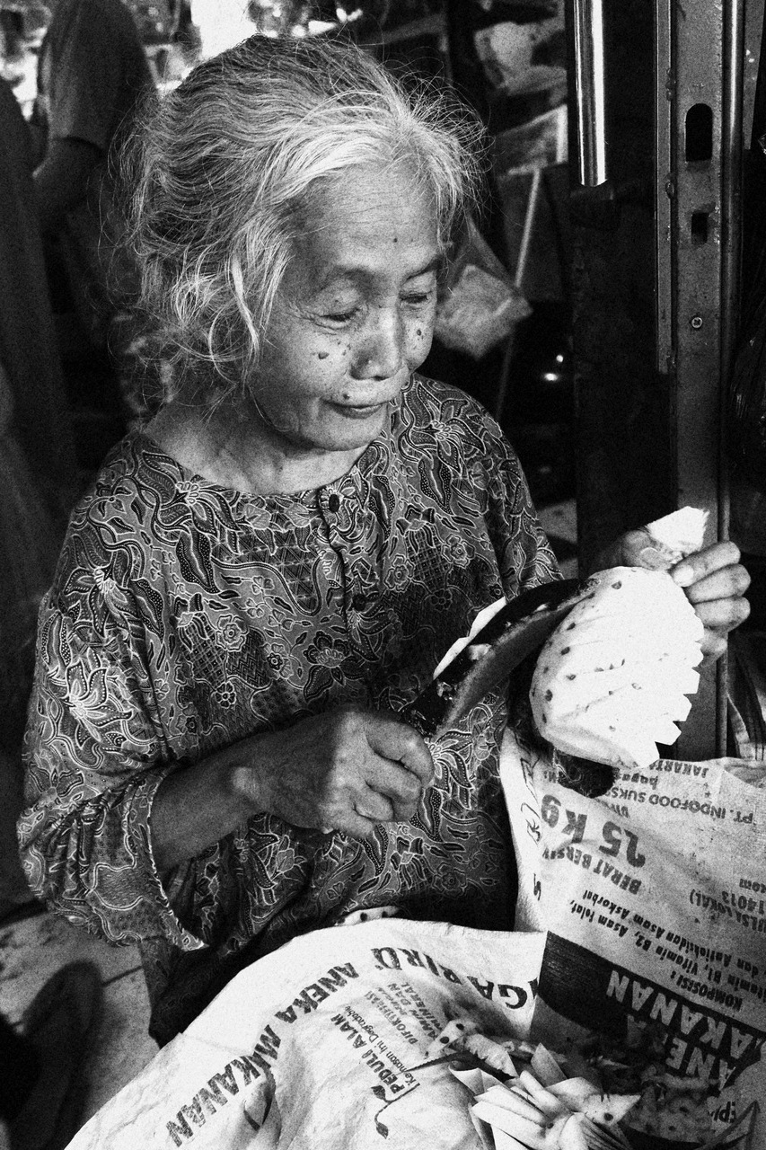 old lady in traditional market by Herman L