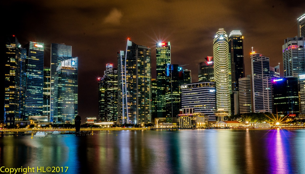singapore by night by Herman L