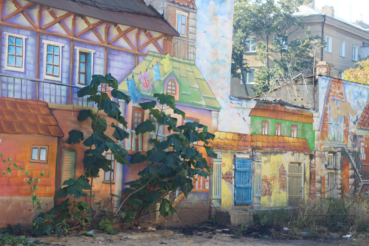 Graffiti on the wall of an old house in Odessa, Ukraine by watcher fox