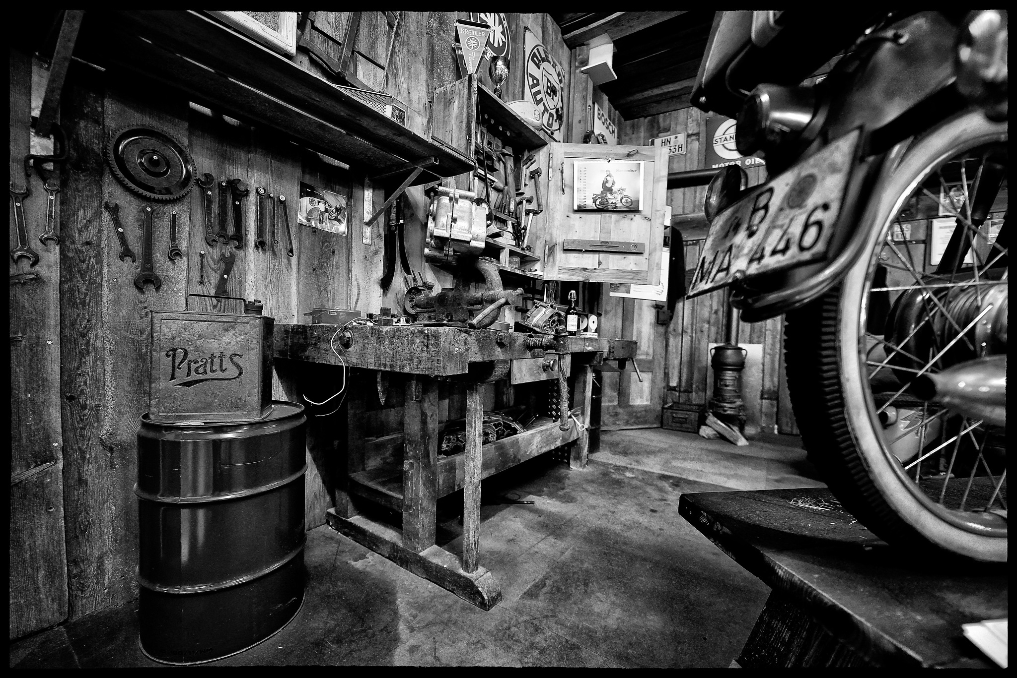 In the garage by David Bowden