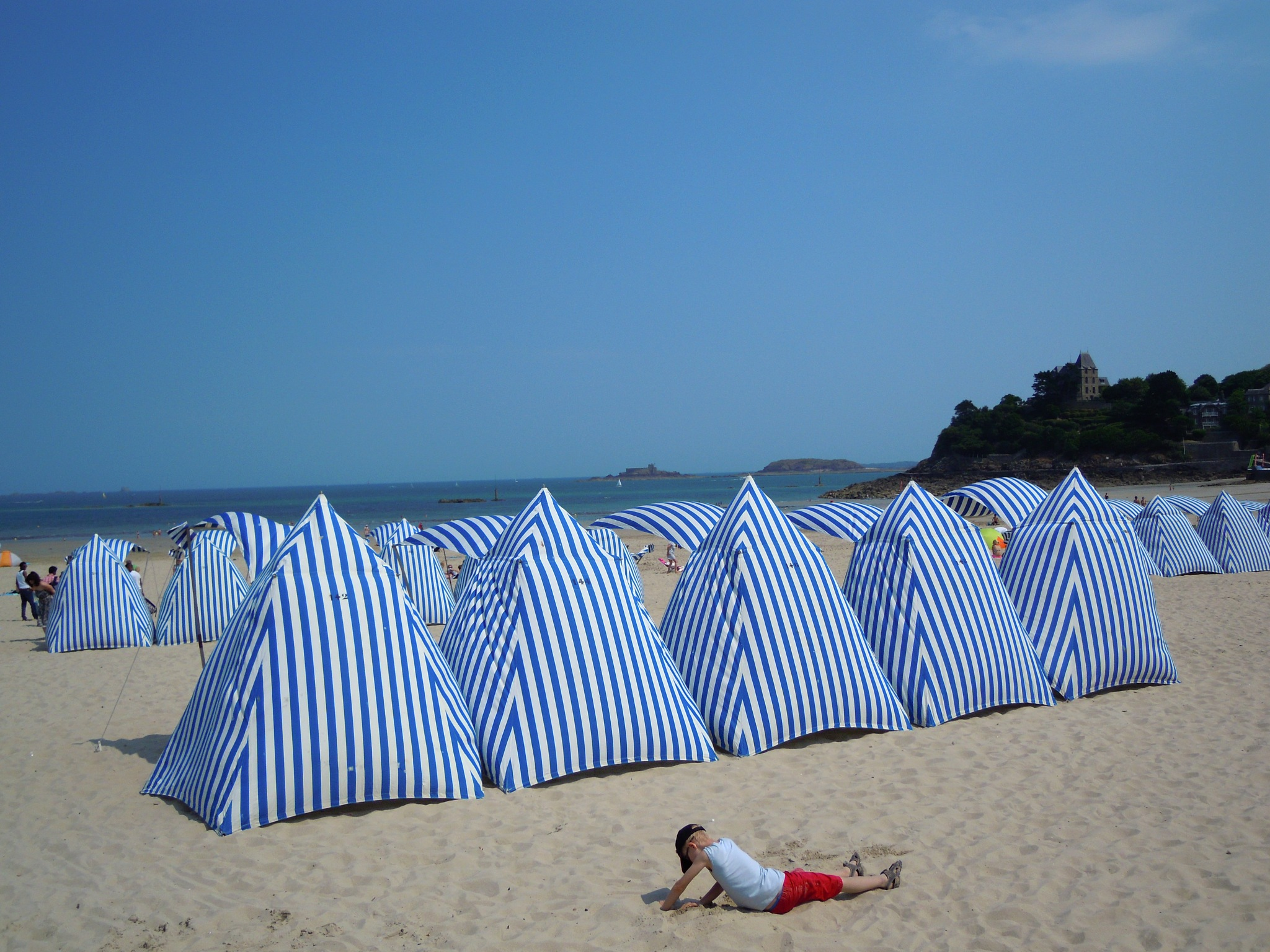 Beach tents in Dinard (Normandy) by Bice Portinari