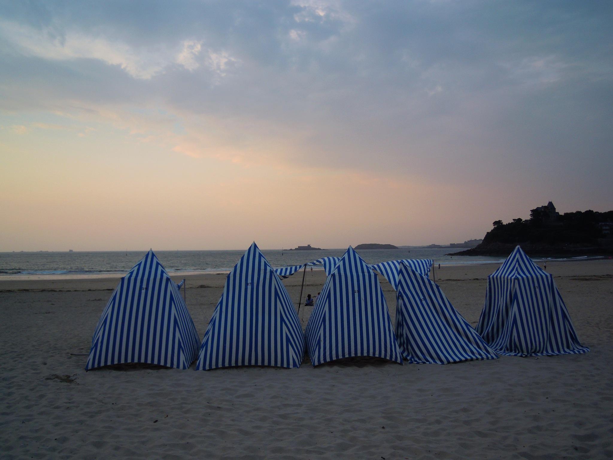 Beach tents at twilight - Dinard (Normandy) by Bice Portinari