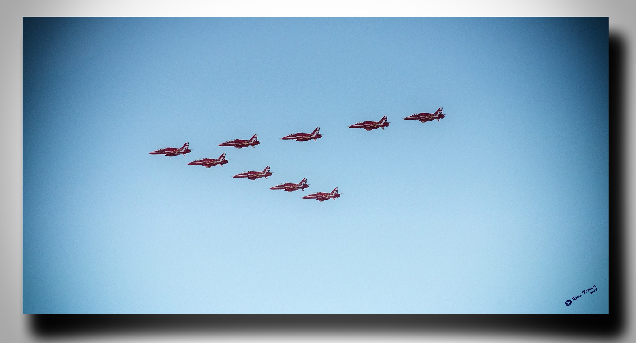 Red Arrows in formation by Russ Tabiner