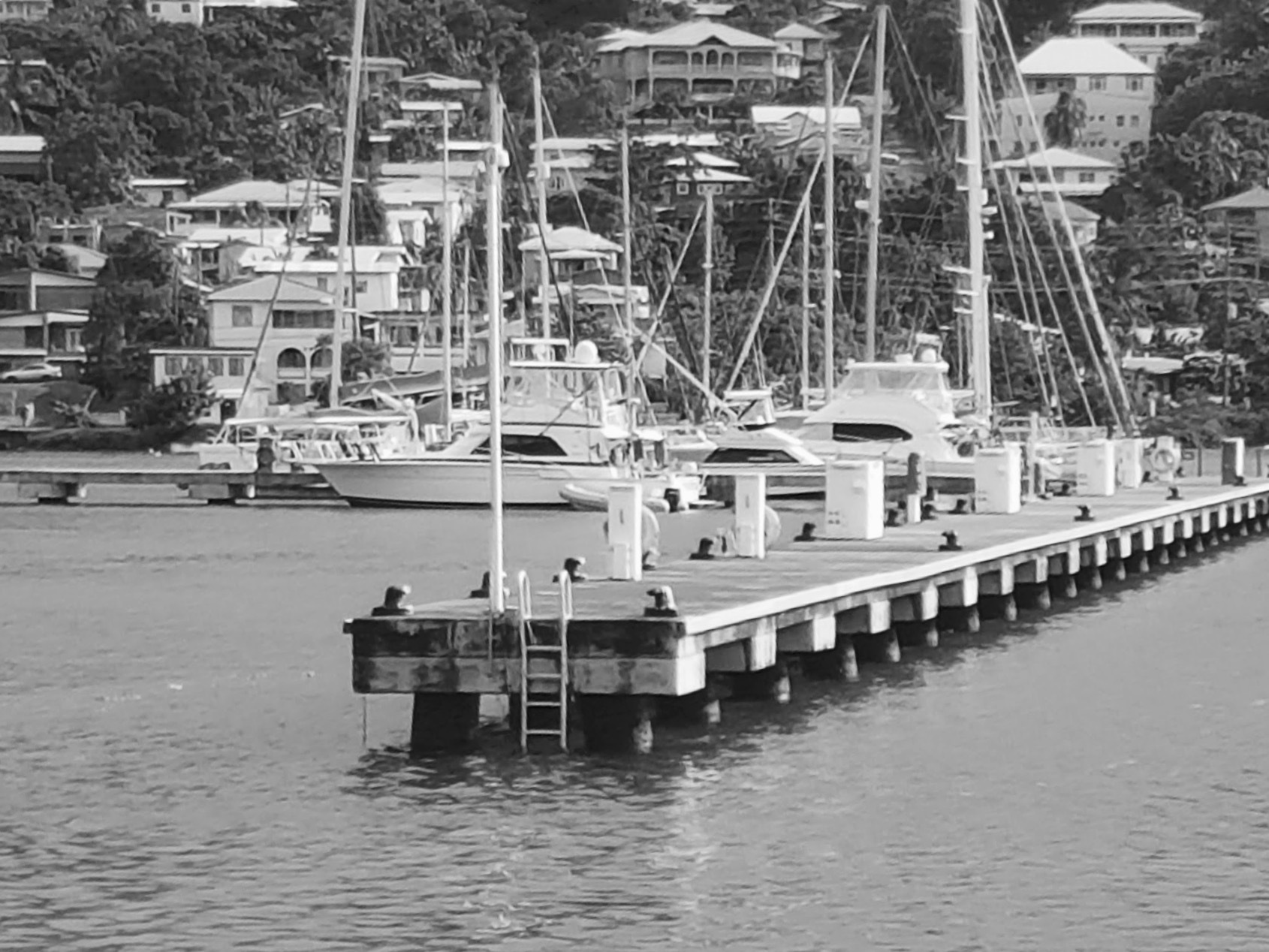 St.George marina in black & White by Nicki Fothergill