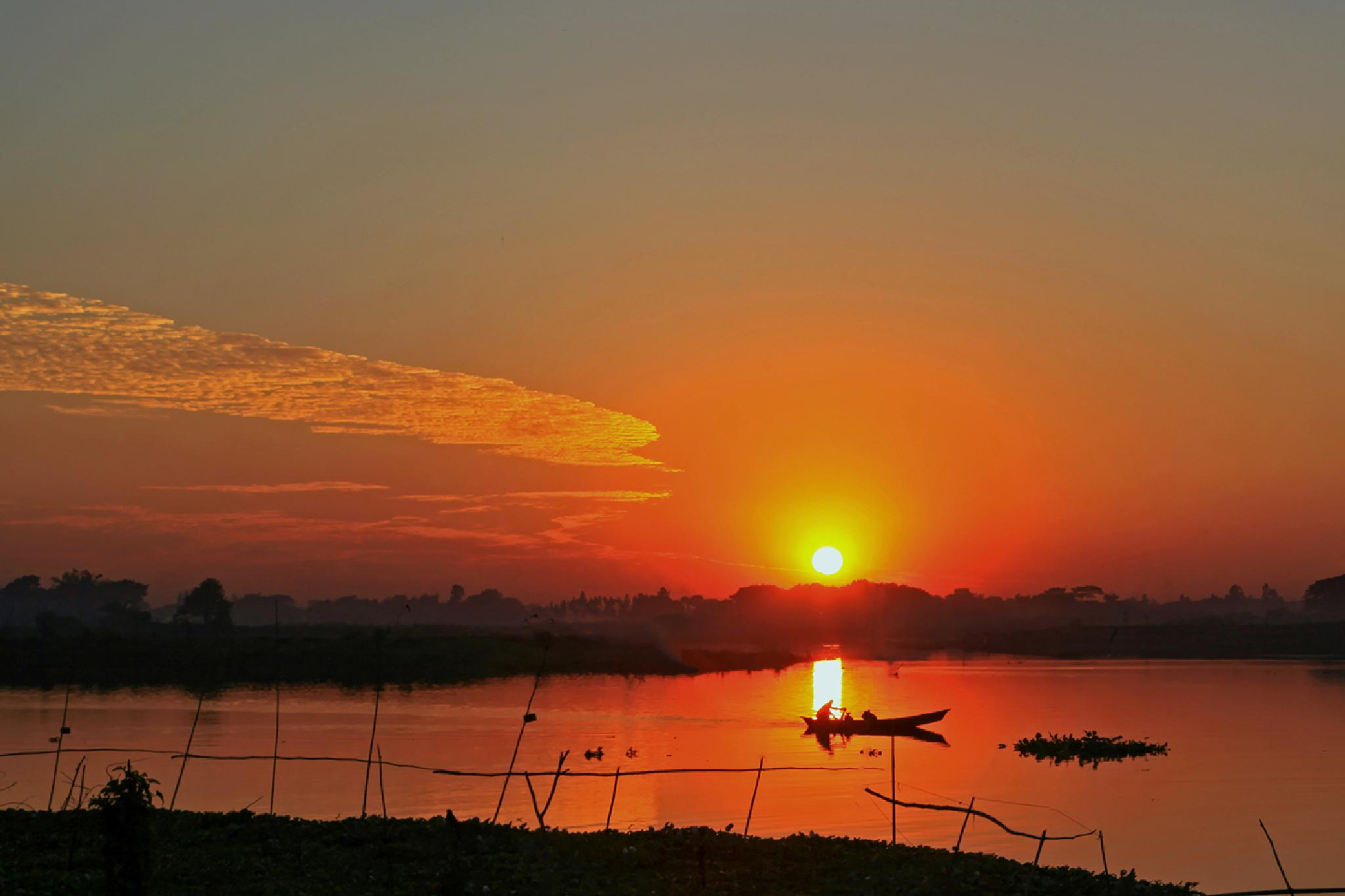 An Autumnal Sunset.  by Helal Rahman