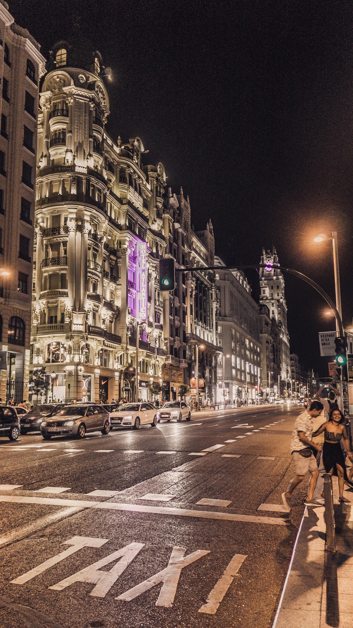 Gran Via by night by N-O Photography