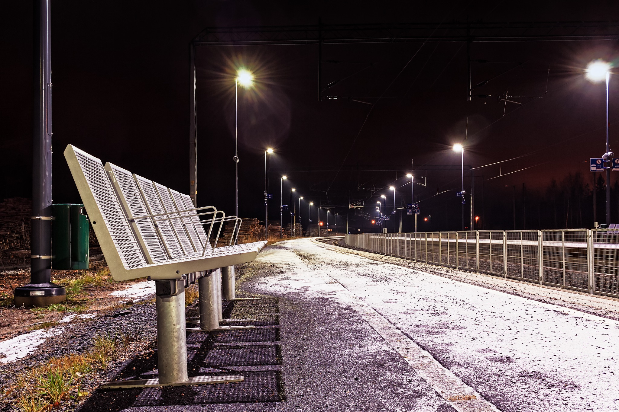 Photo in Landscape #seat #chair #station #tracks #winter #snow #light #night #empty