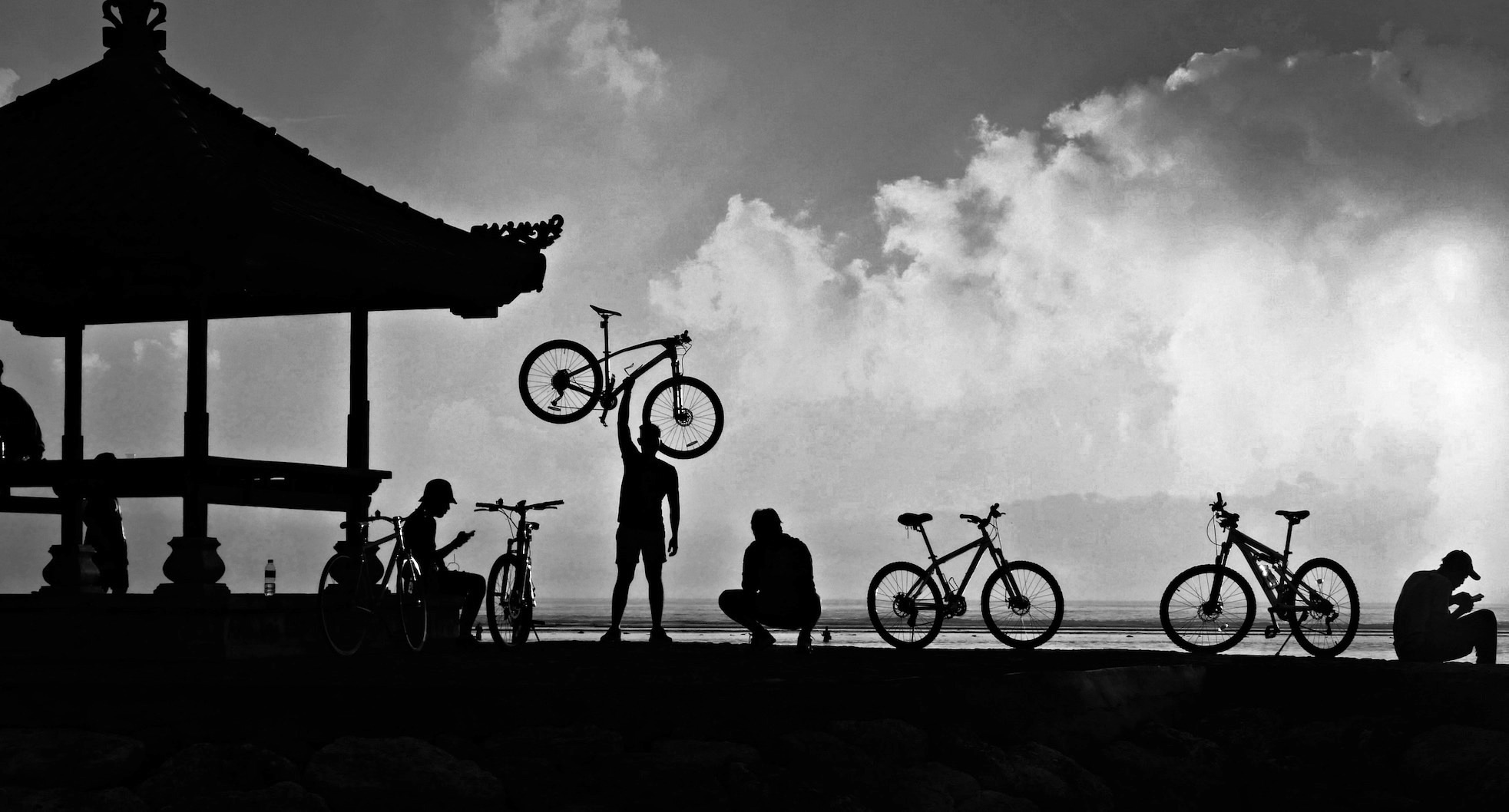 Strong man with bike by kevinmfairley