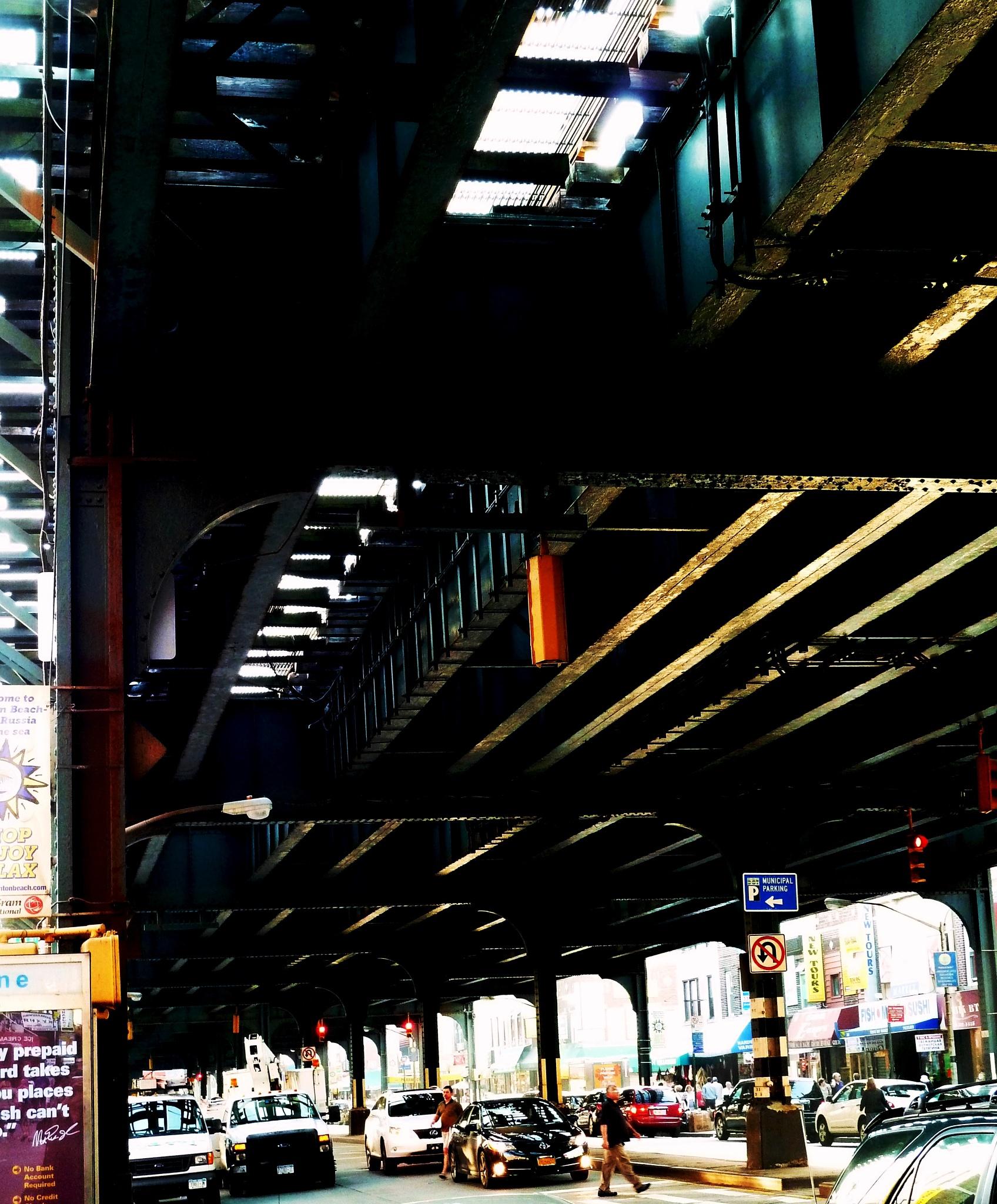 Under the El (2). Brighton Beach/Coney Island, NYC by Anton Agalbato