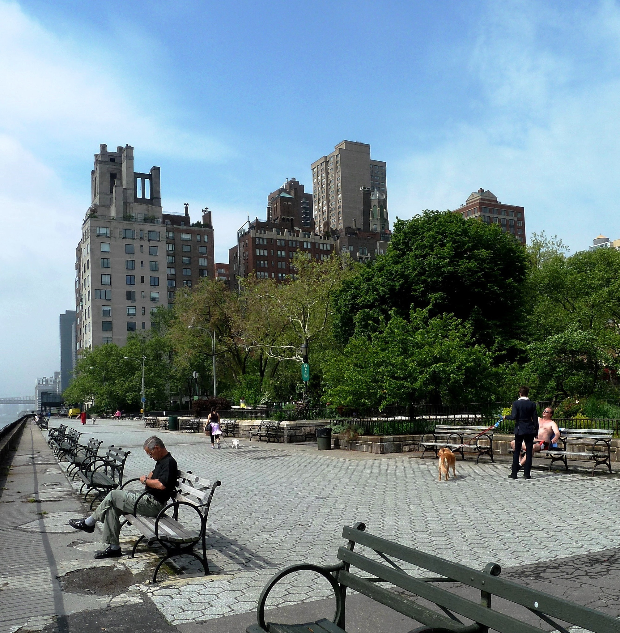 9:36 a.m., a Spring morning on the promenade at Carl Schurz Park, NYC, looking South. by Anton Agalbato