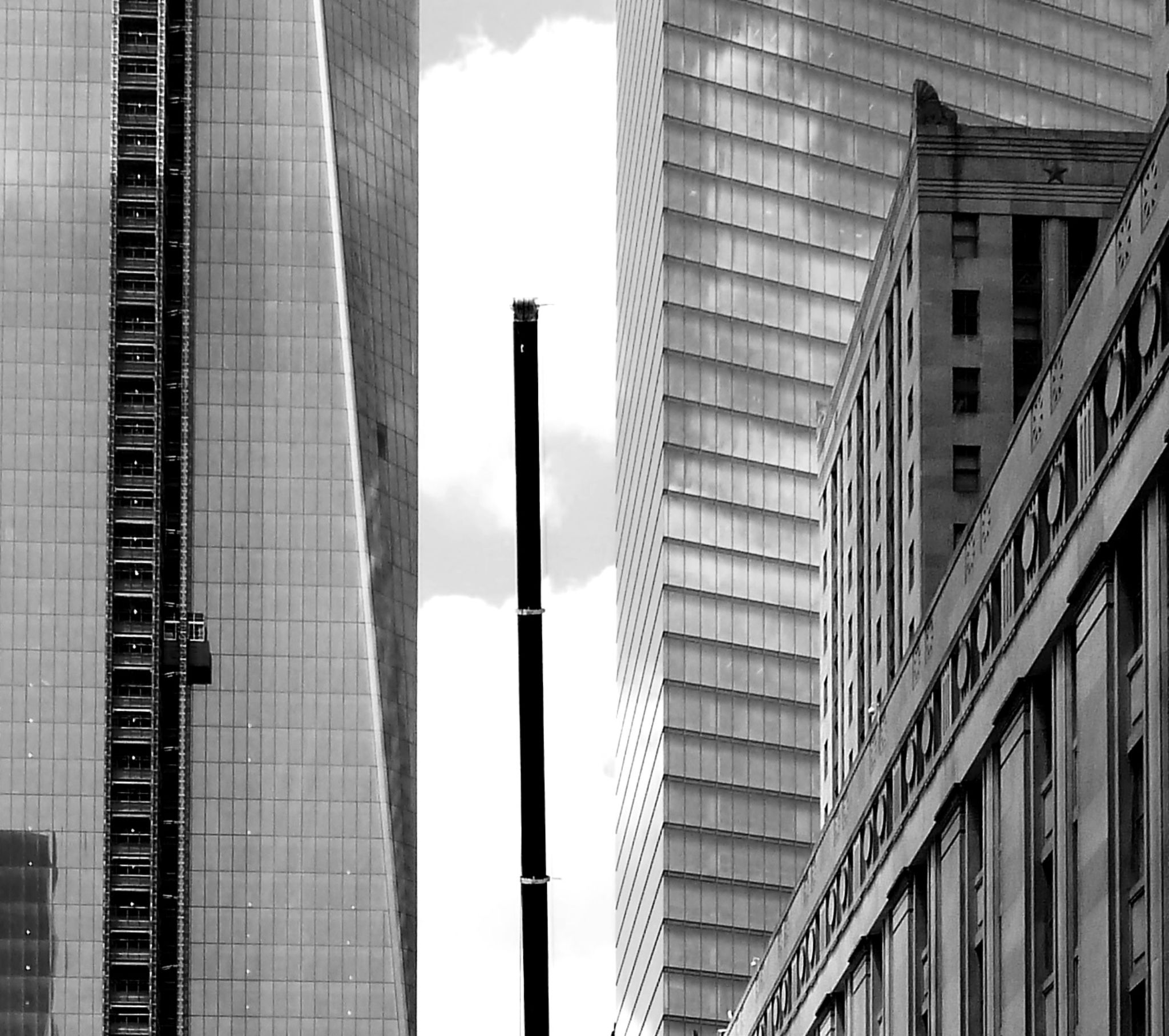 Freedom Tower nearing completion. NYC. B&W by Anton Agalbato