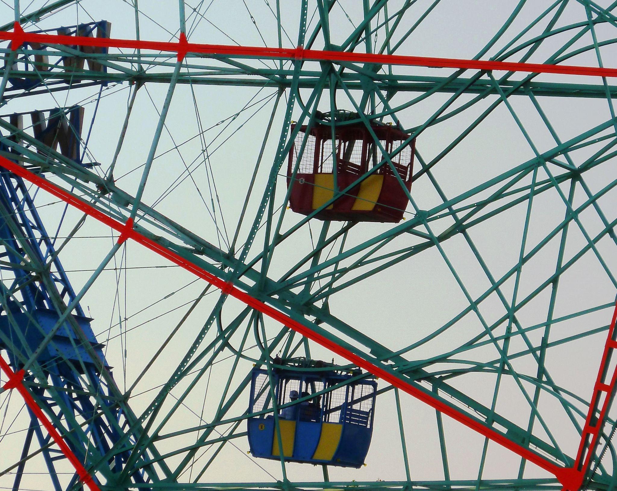 Coney Island Icon - The Wonder Wheel - 2 cars by Anton Agalbato