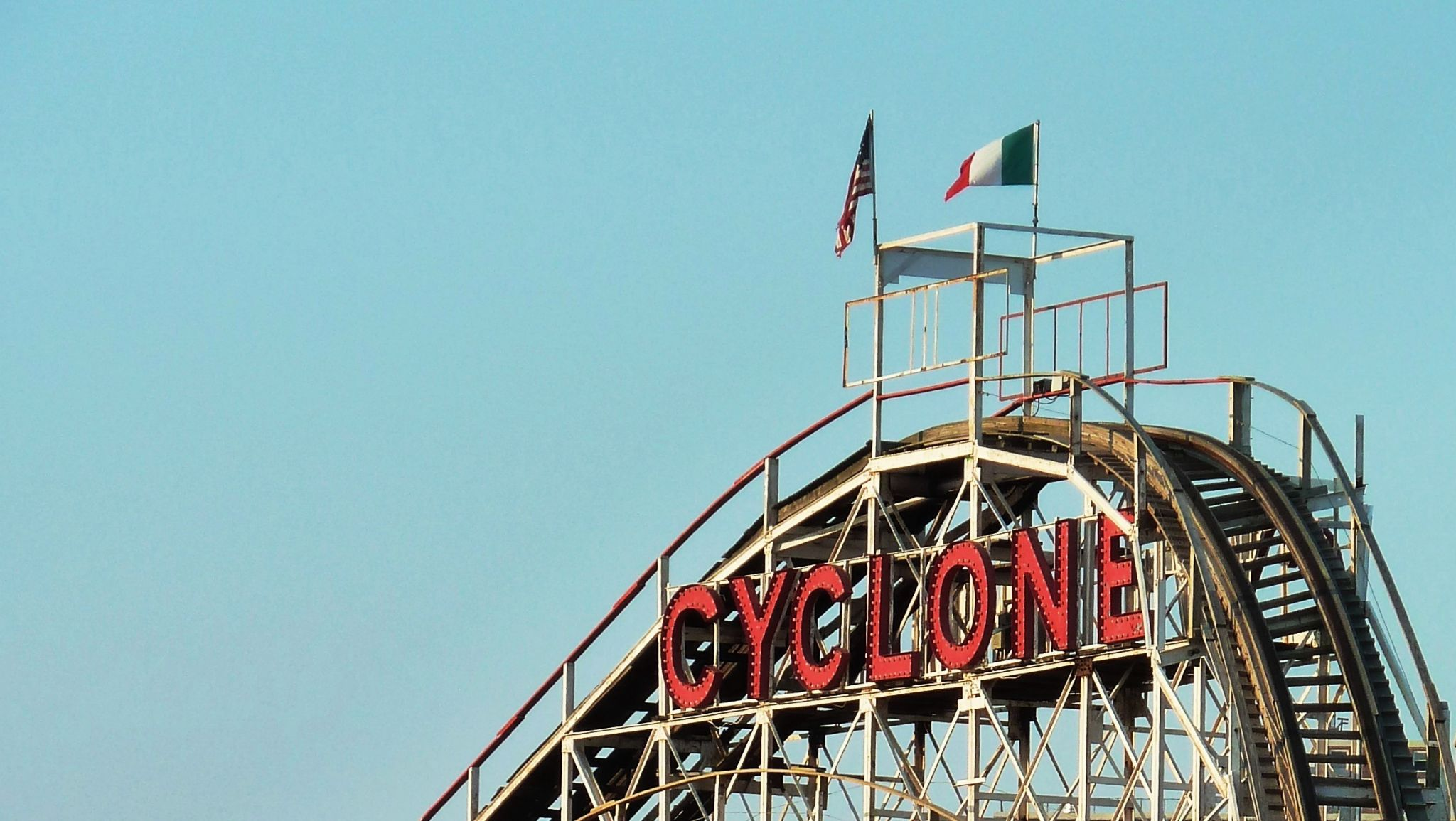 The start of the big drop.  Coney Island Icon: The Cyclone.  Still running and rattling after all th by Anton Agalbato