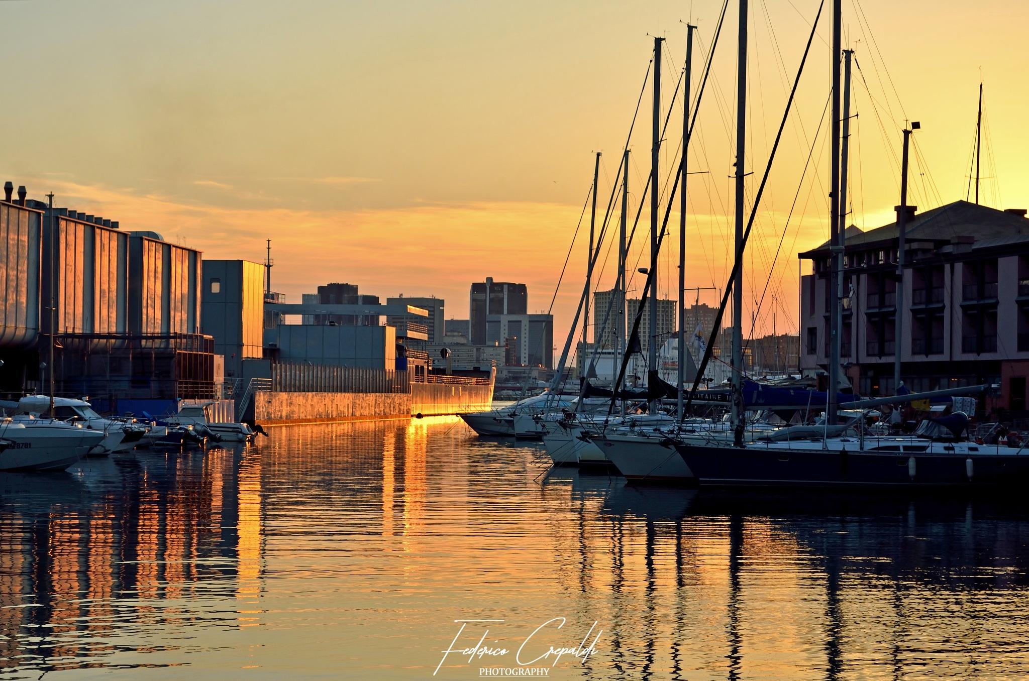 Genoa Port Sunset by Federico Crepaldi