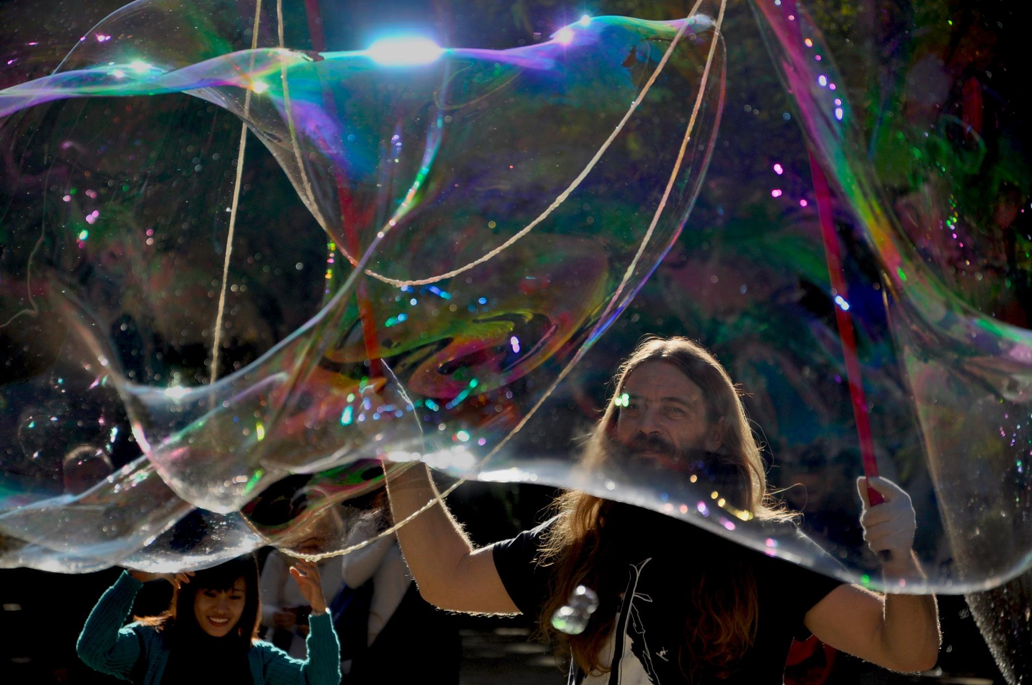 Bubble man of Barcelona- The Spirit Of Freedom. by Joy Joseph