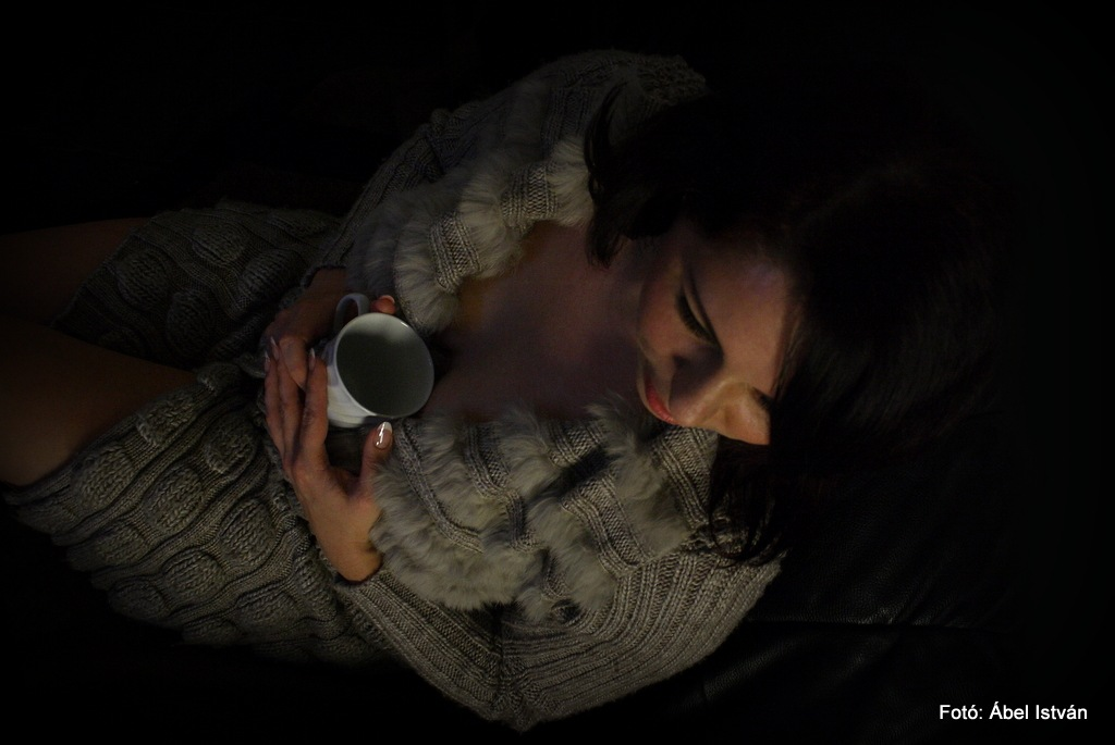 Girl with coffee by Abel Istvan