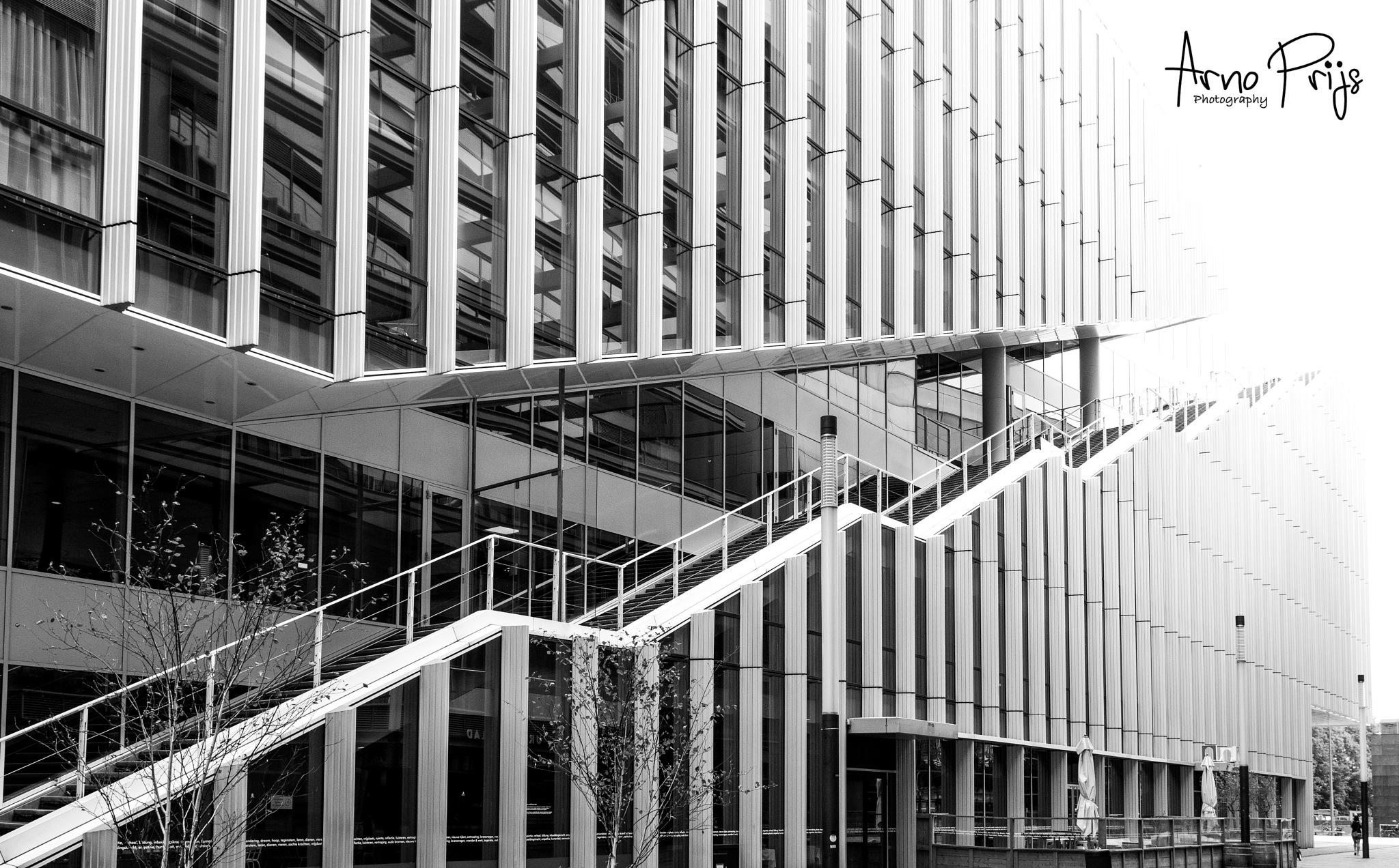 Stairs Zuidas Amsterdam  by Arno Prijs