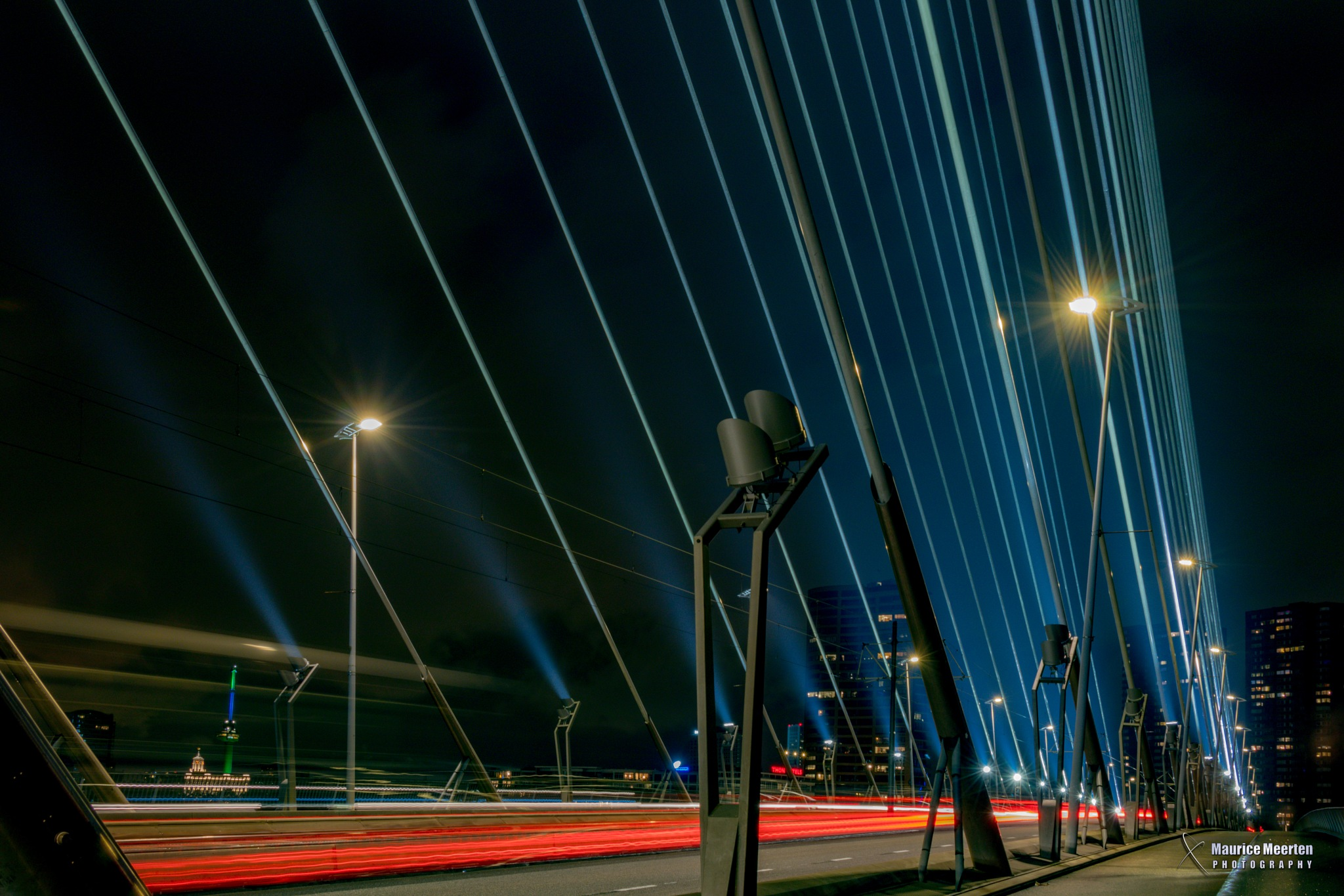 Rotterdam by night - Erasmus bridge by Maurice Meerten