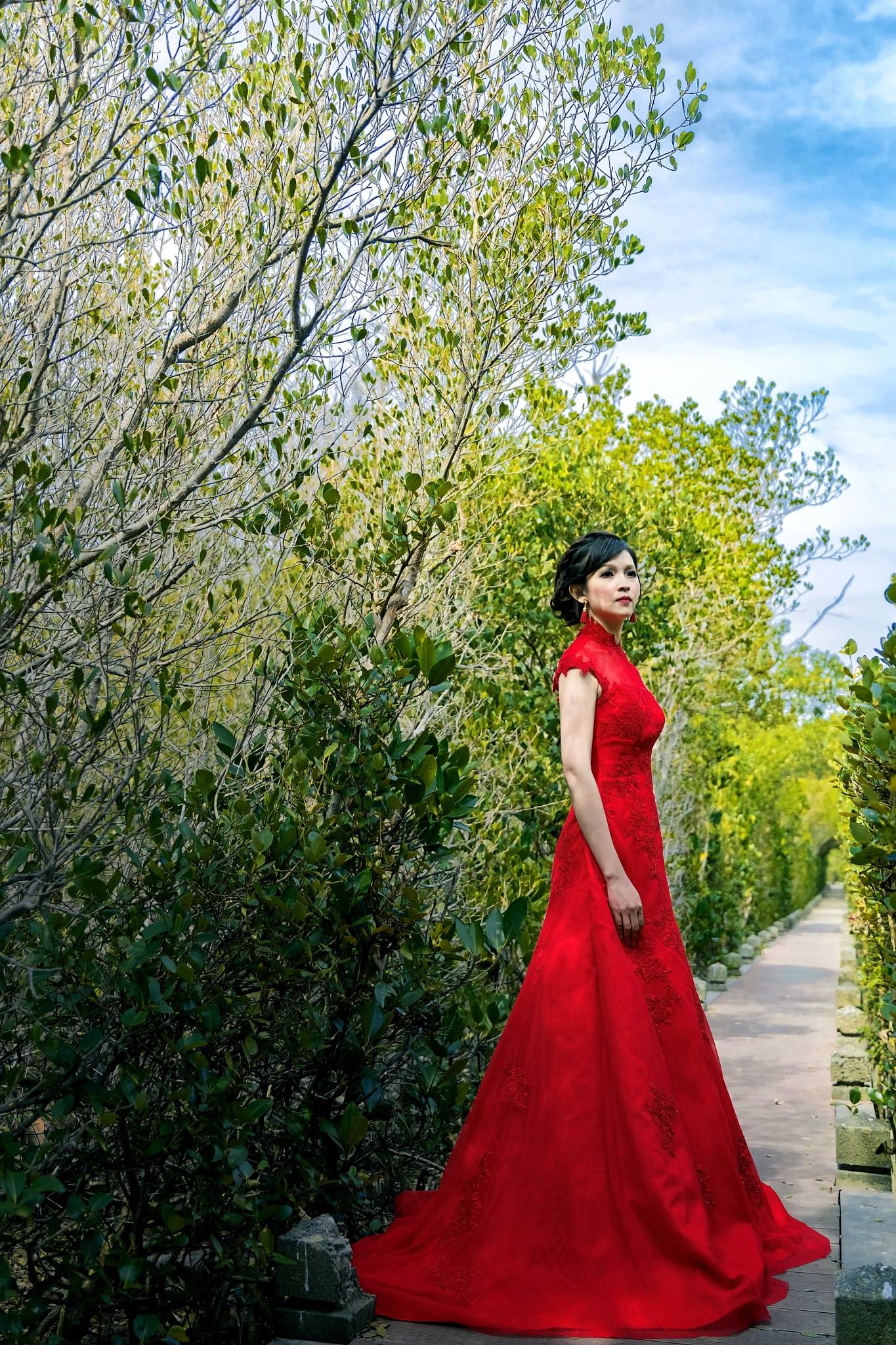 Bride in red by Y S Laurent
