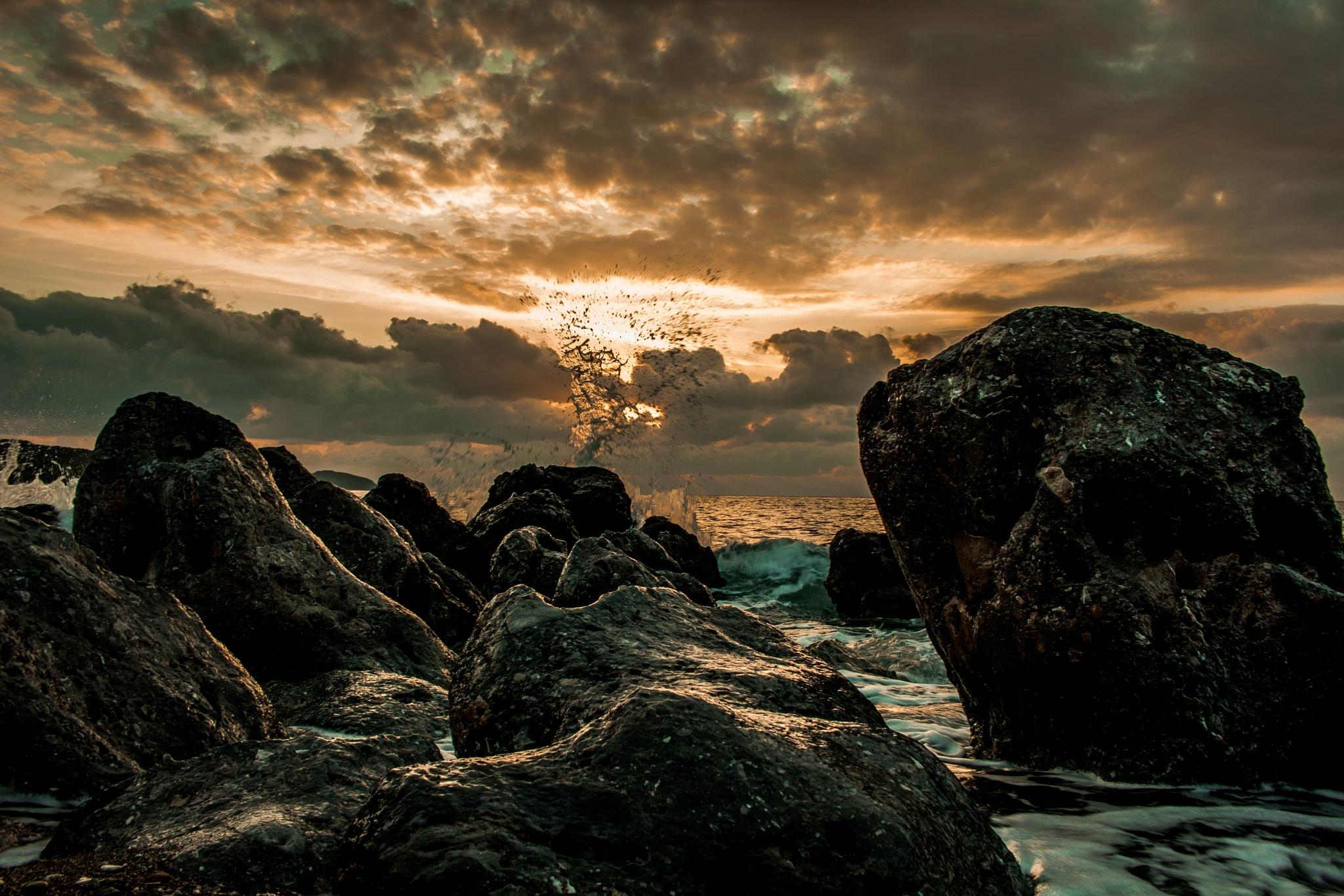 Burning sea... by Nektarios Mpouterakos
