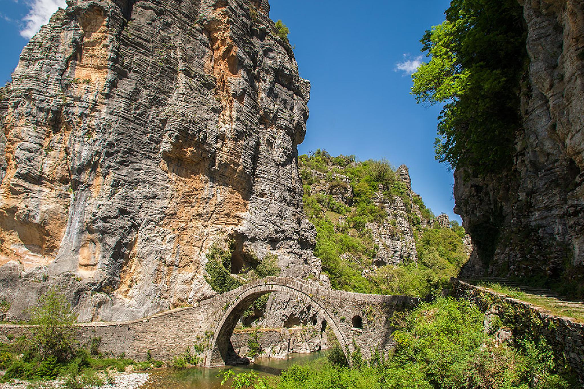 Old Traditional Stone Kokorou Bridge in Epirus by Sotiris Siomis