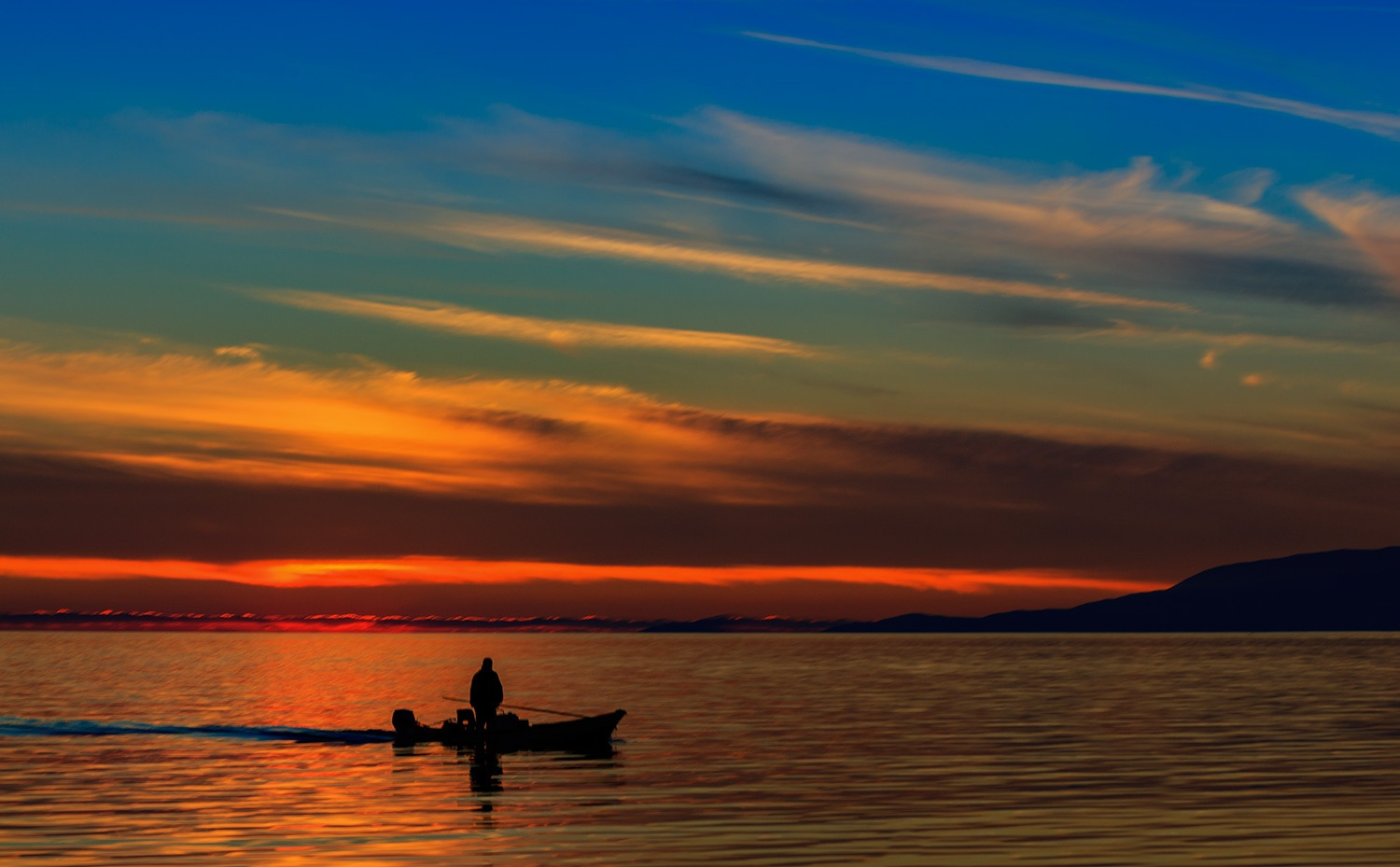 Photo in Landscape #fisherman #sunset #magical #messolonghi #tourlida #lagoon #boat