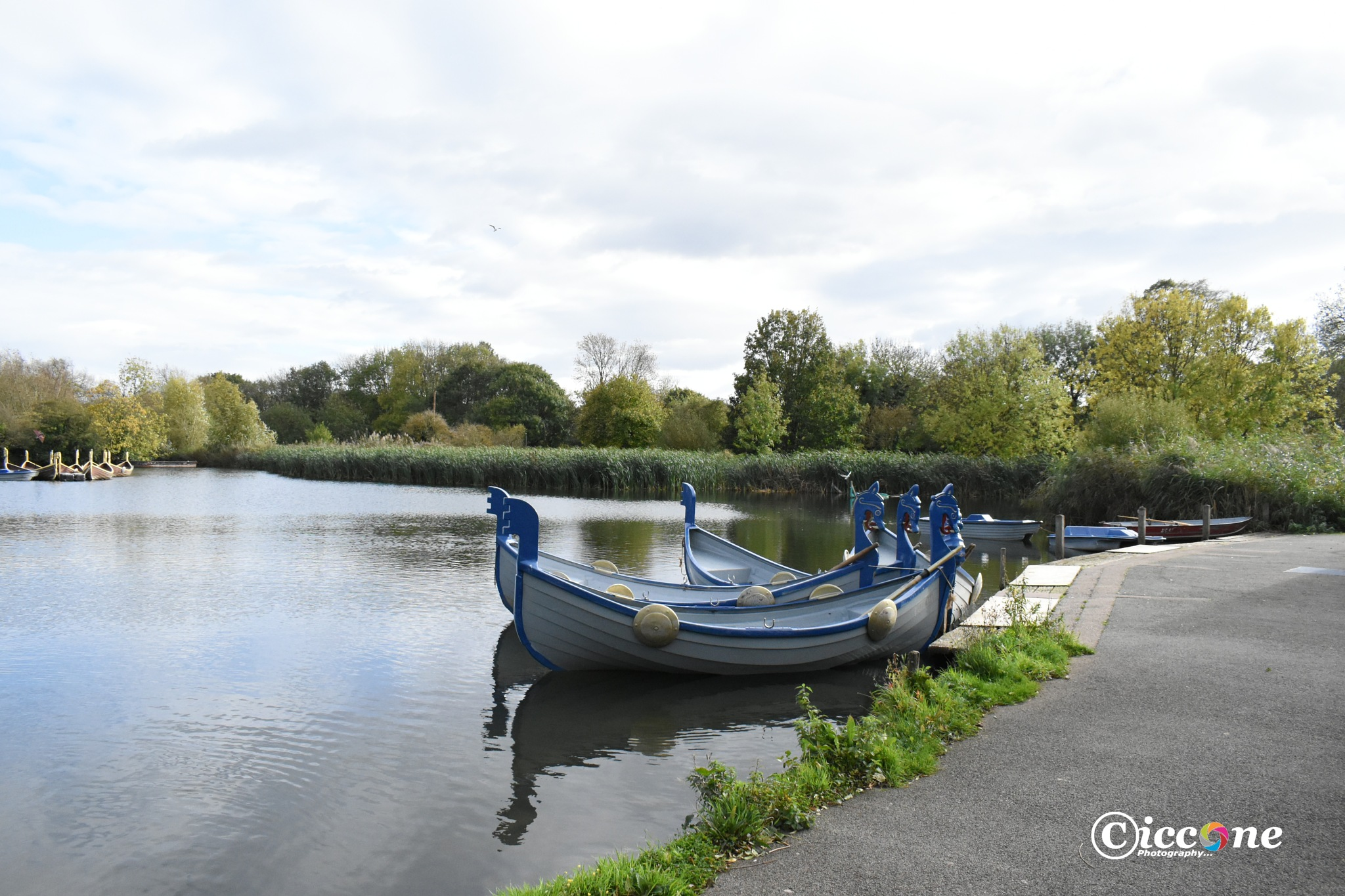 This is the boating lake along the river embankment in Bedford Town.   by Marc Ciccone